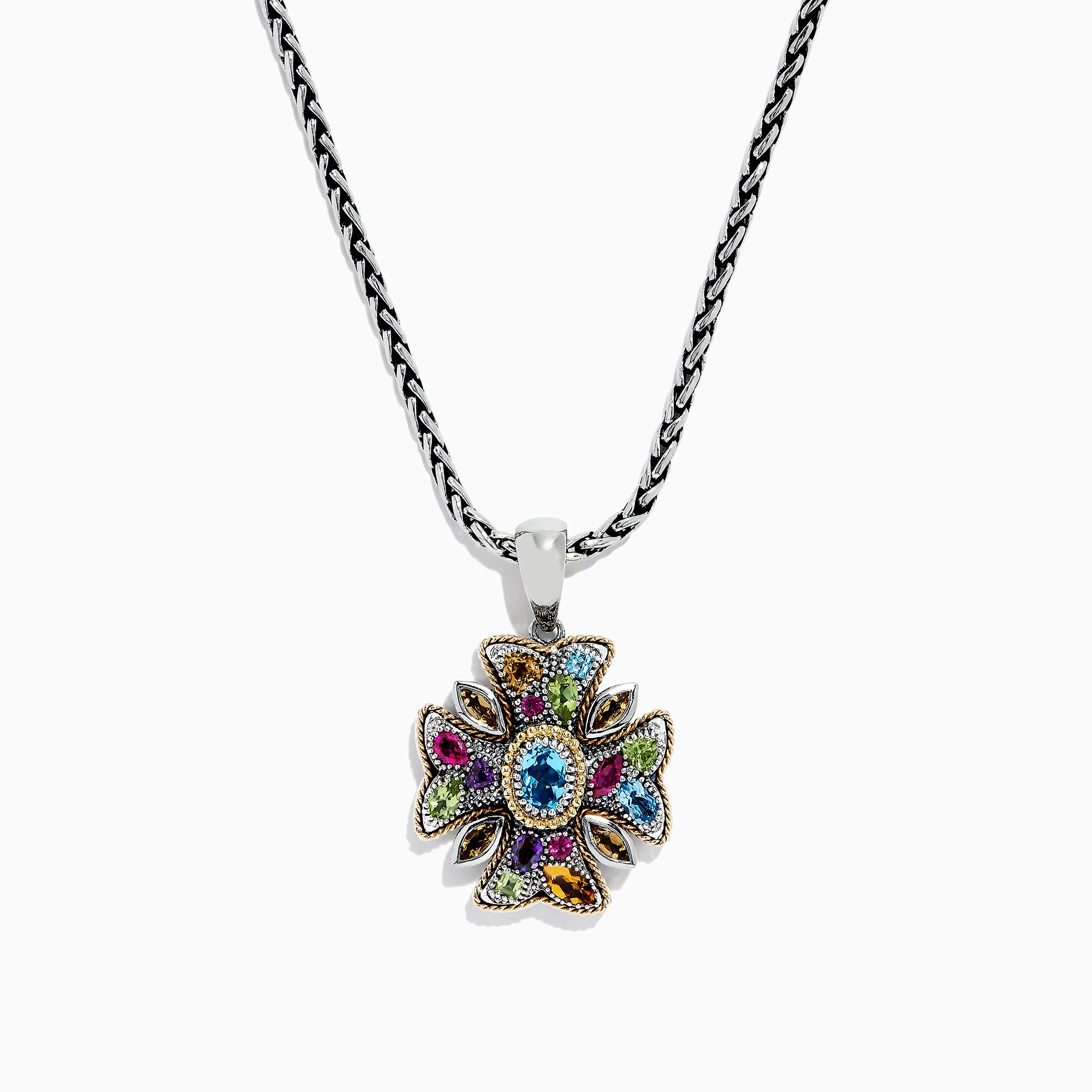 Effy 925 Multi Gemstone Cross Pendant, 4.09 TCW