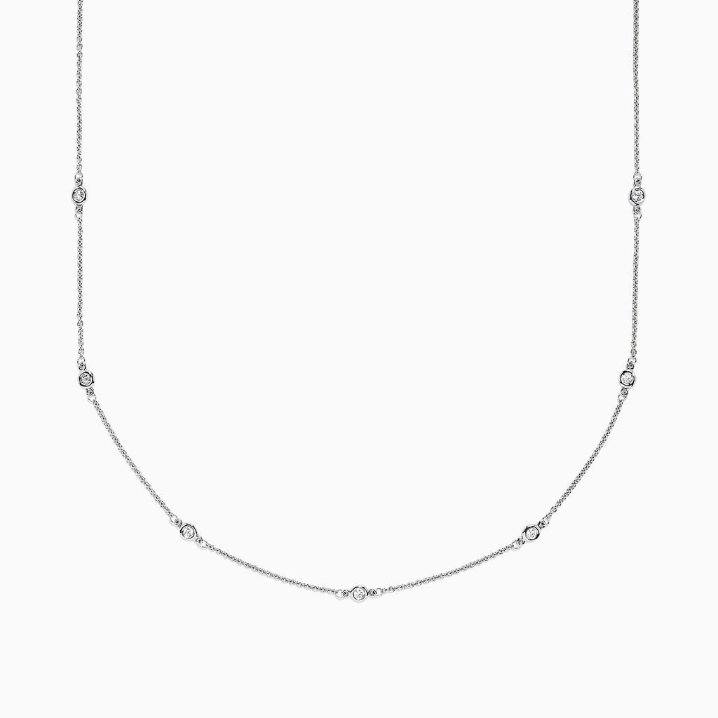 "Effy 14K White Gold 18"" Diamond Station Necklace, 0.21 TCW"