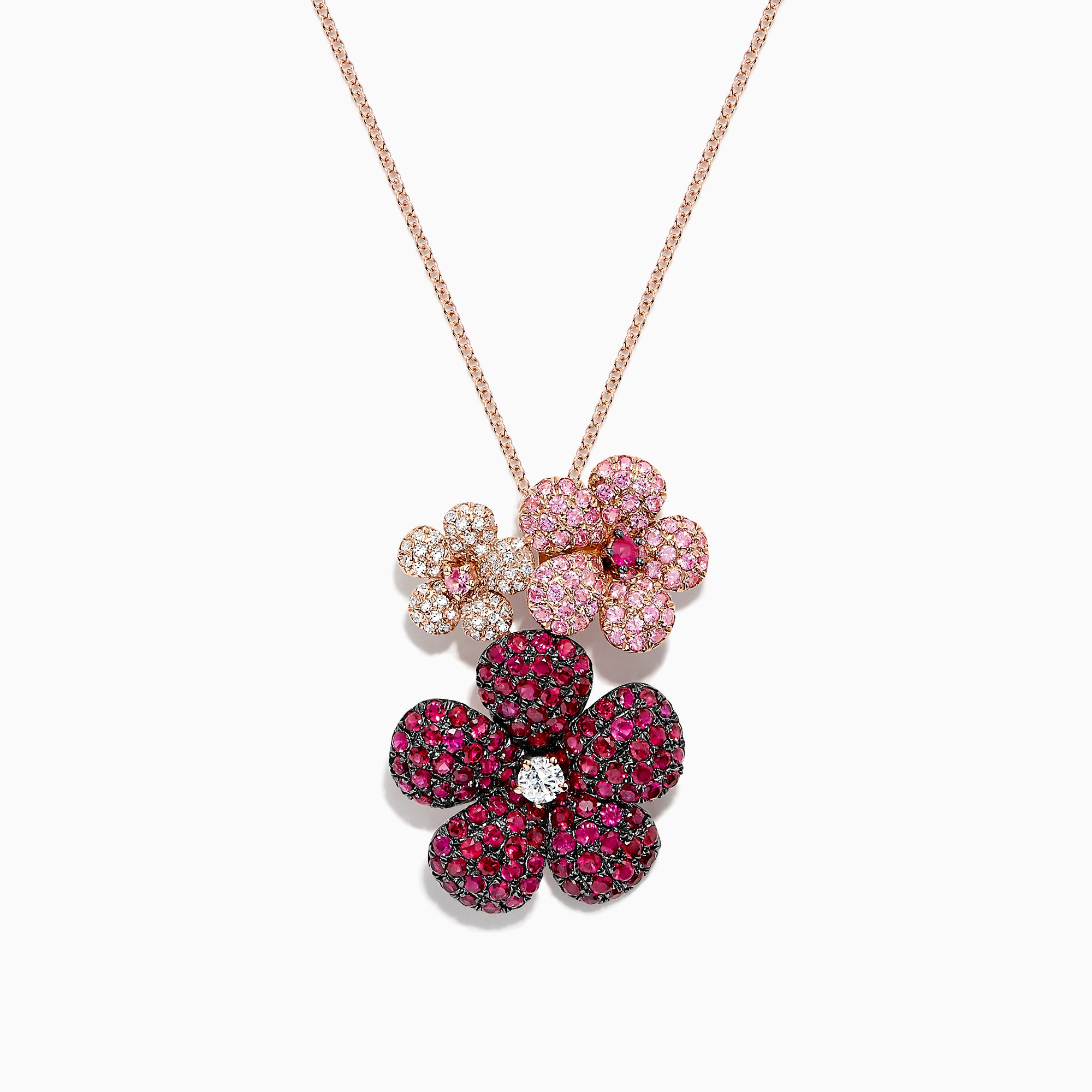 Effy Nature 14K Gold Ruby, Sapphire and Diamond Flowers Pendant, 3.02 TCW