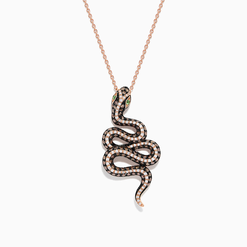 Effy Safari 14K Rose Gold Diamond and Tsavorite Snake Pendant, 1.41 TCW