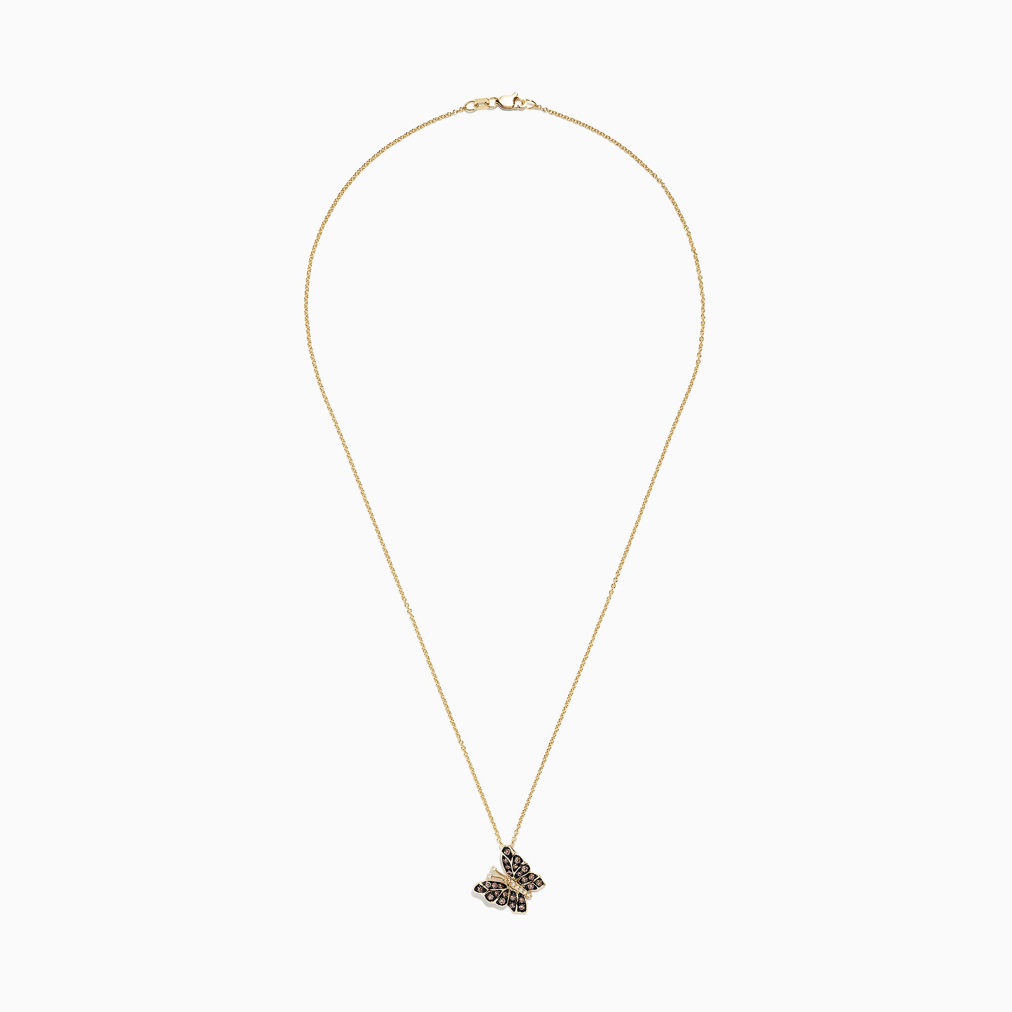 Effy Nature 14K Yellow Gold Cognac and White Diamond Butterfly Pendant