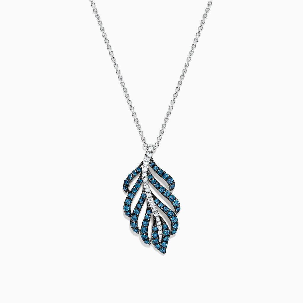Effy Bella Bleu 14K White Gold Blue and White Diamond Pendant, 0.86 TCW