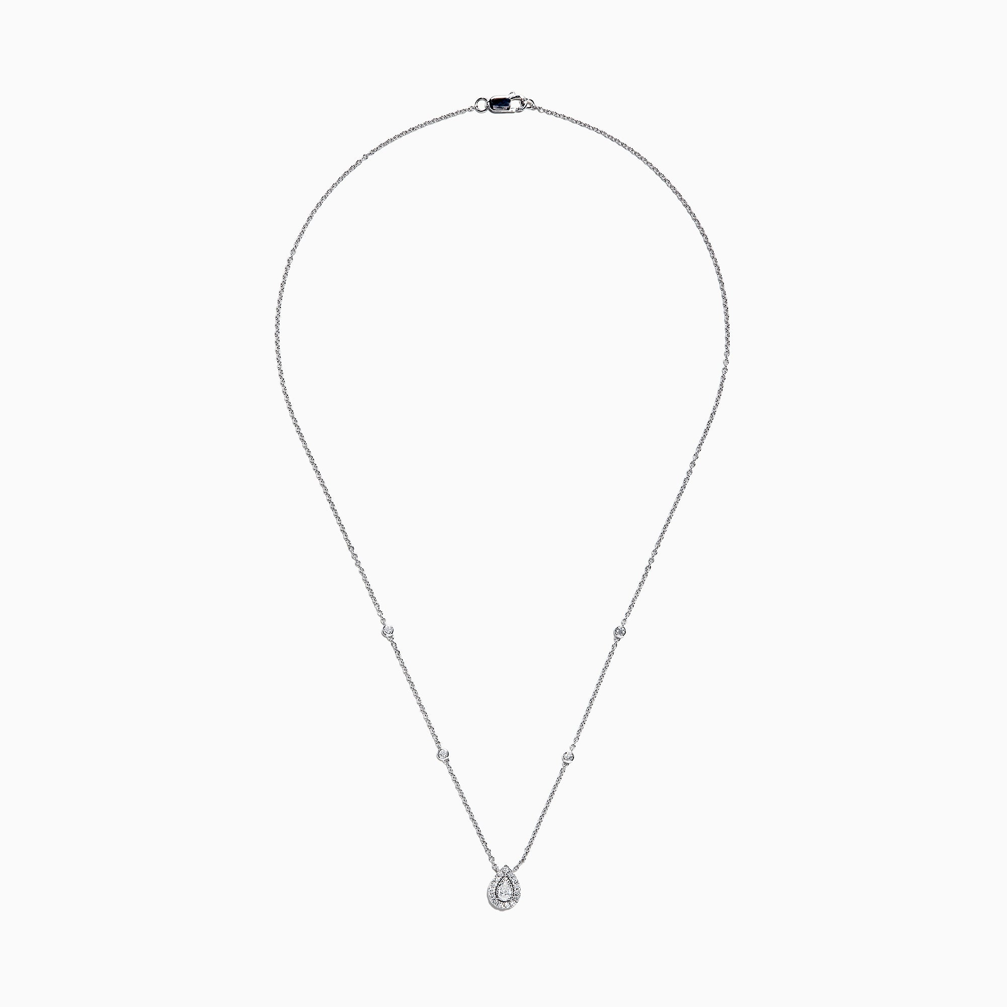 Effy Pave Classica 14K White Gold Diamond Pear Shaped Necklace, 0.38 TCW