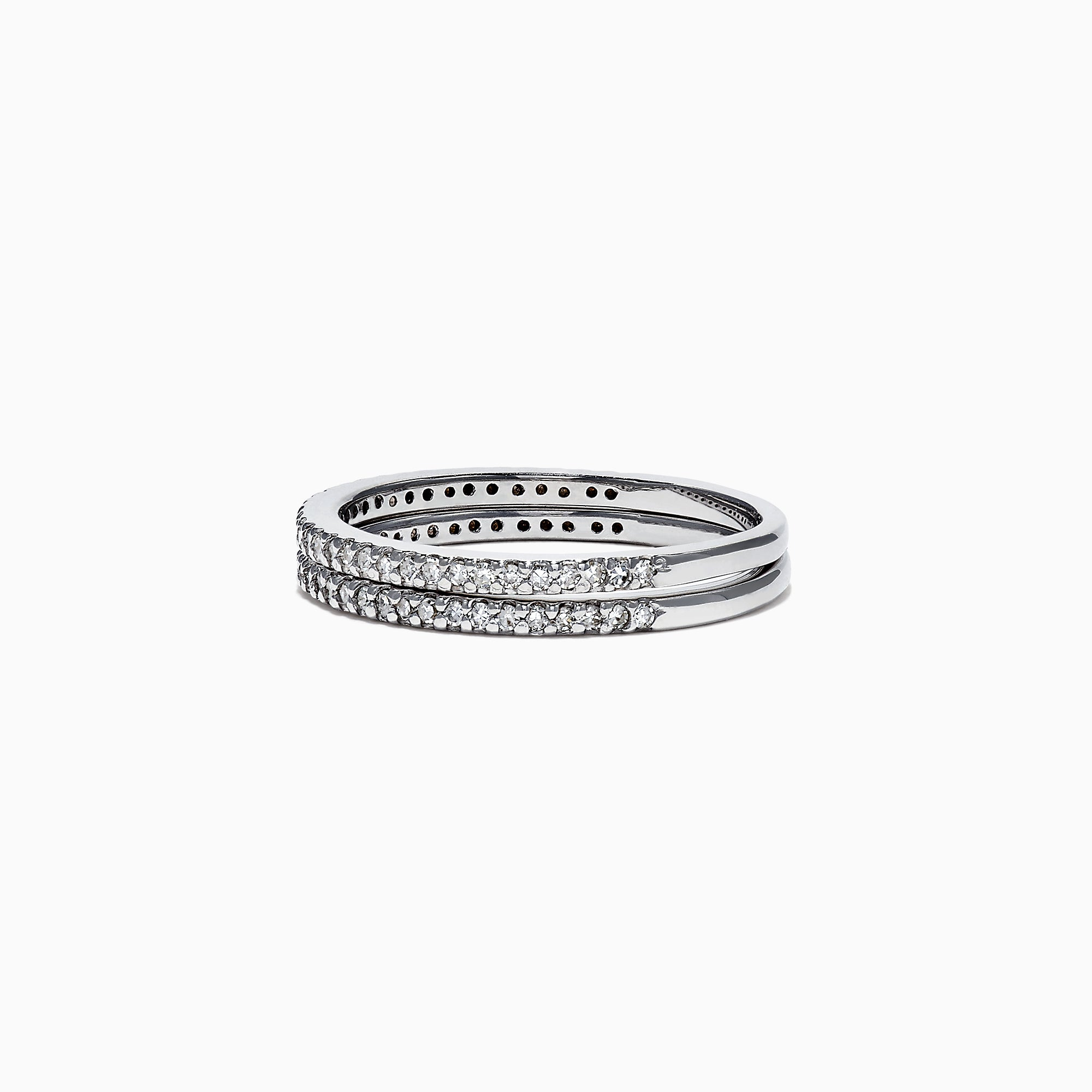 Effy Pave Classica 14K White Gold Double Band Diamond Ring, 0.36 TCW