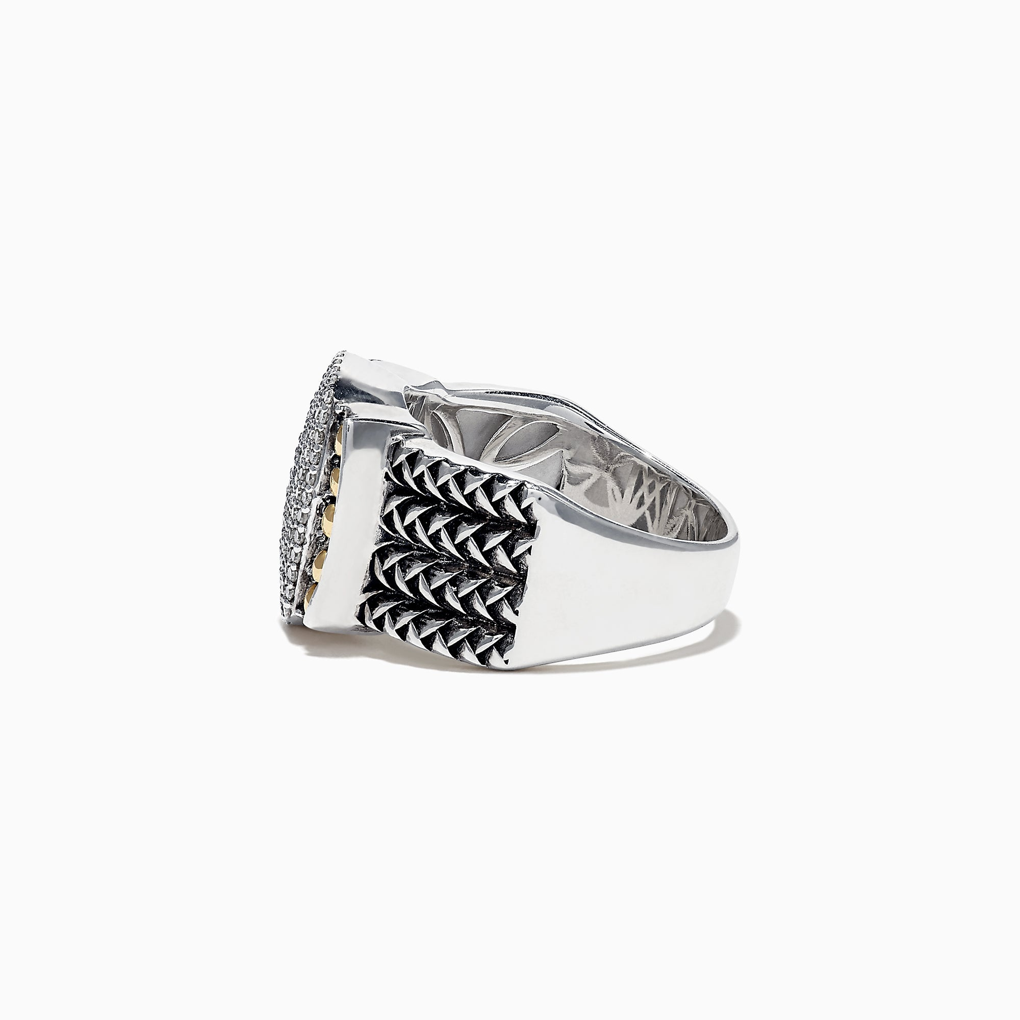 Effy 925 Sterling Silver and 18K Yellow Gold Diamond Ring, 0.39 TCW