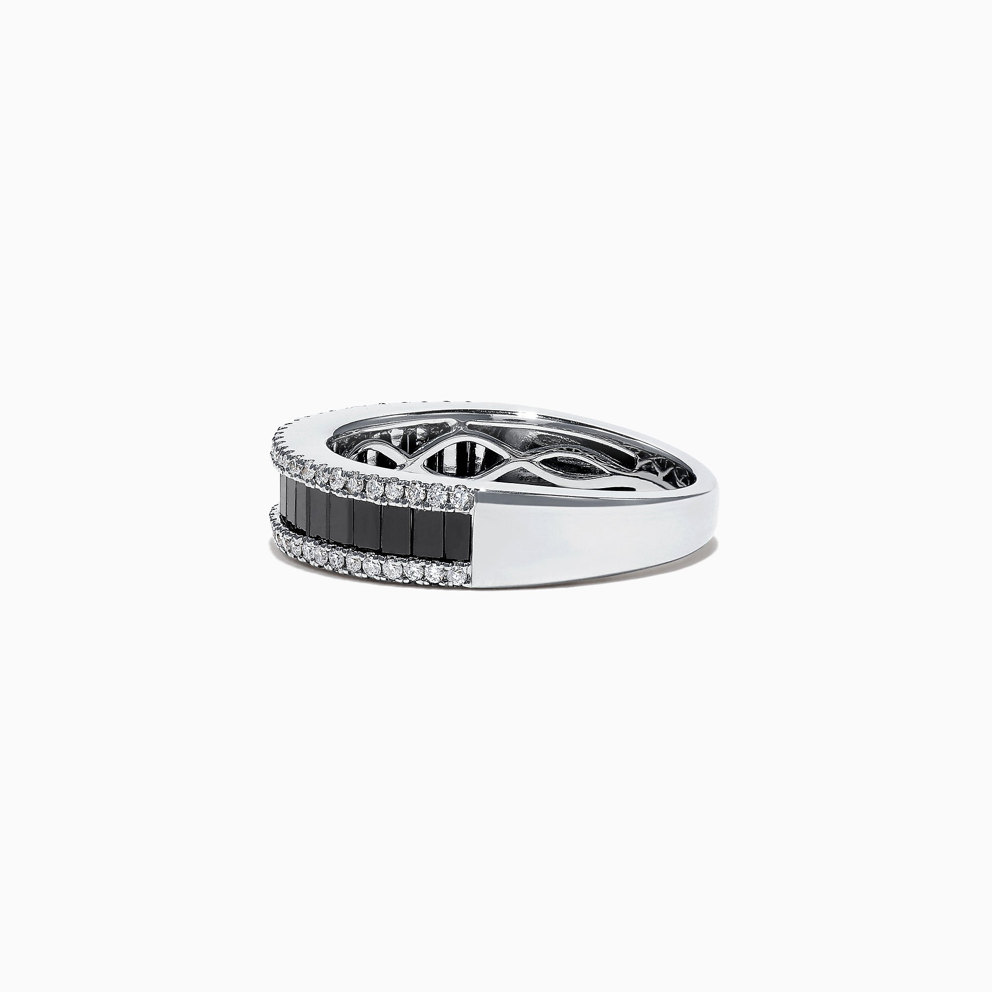 Effy 14K White Gold Black and White Diamond Band Ring, 1.06 TCW