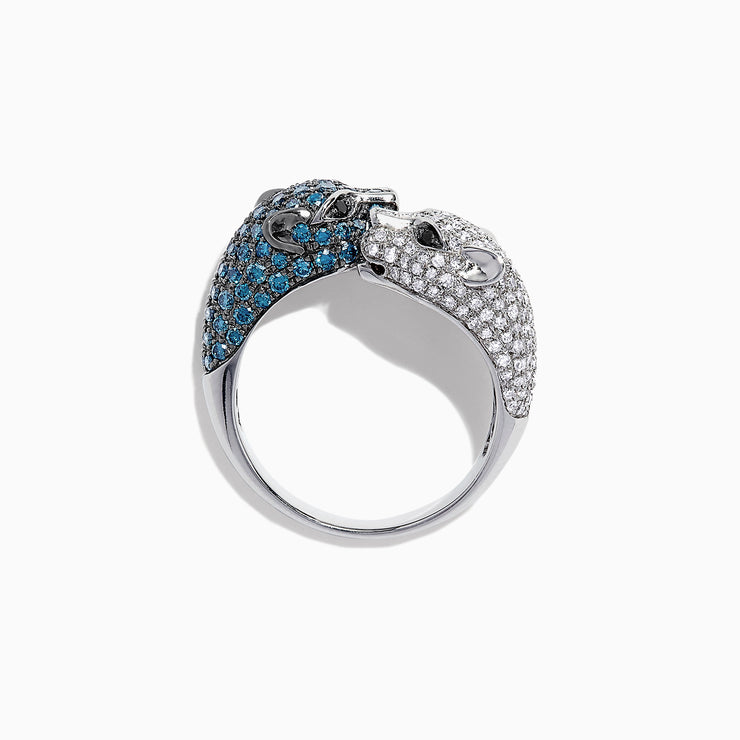Effy Signature 14K White Gold Blue and White Diamond Panther Ring, 1.48 TCW