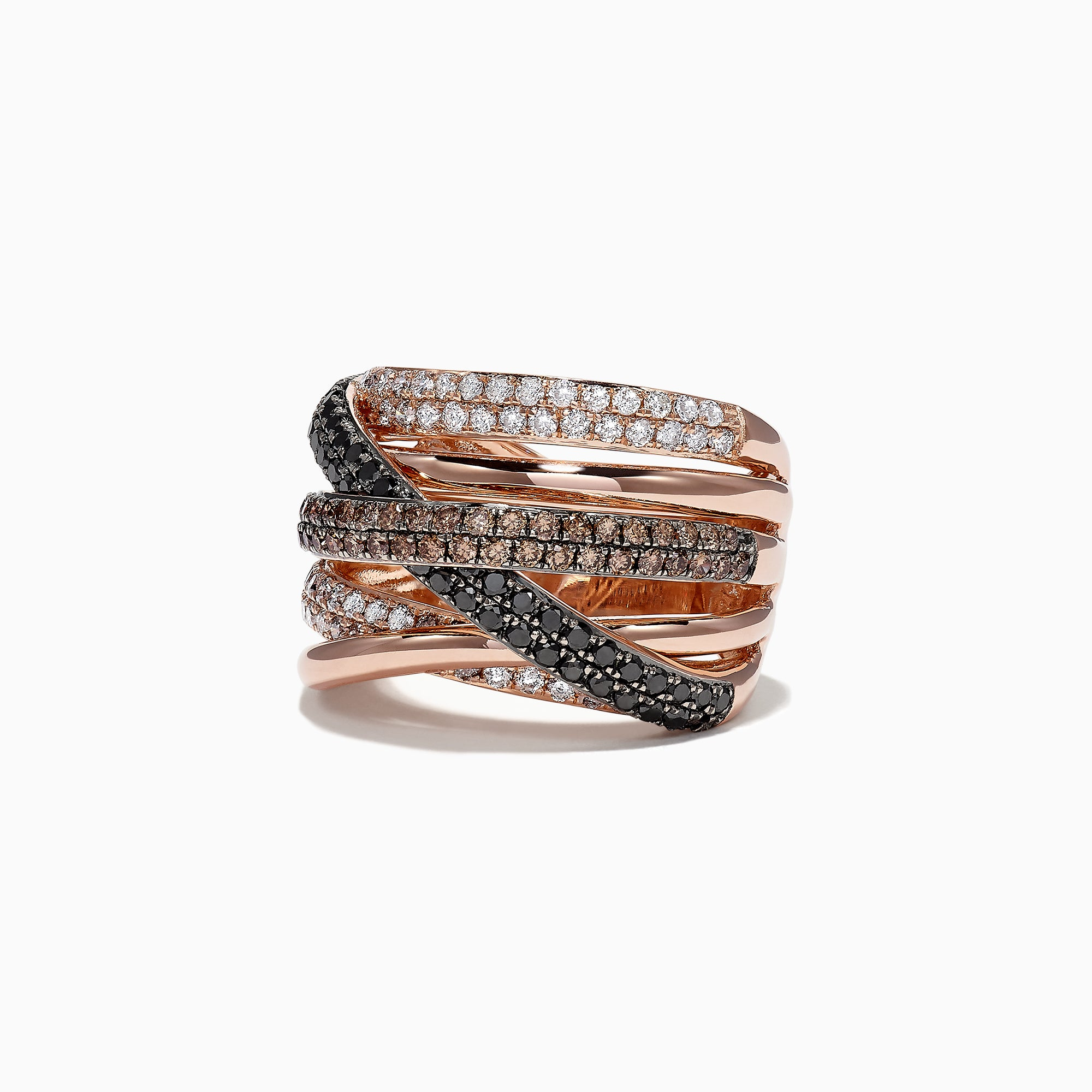 Effy 14K Rose Gold Black, Cognac and White Diamond Ring, 1.47 TCW