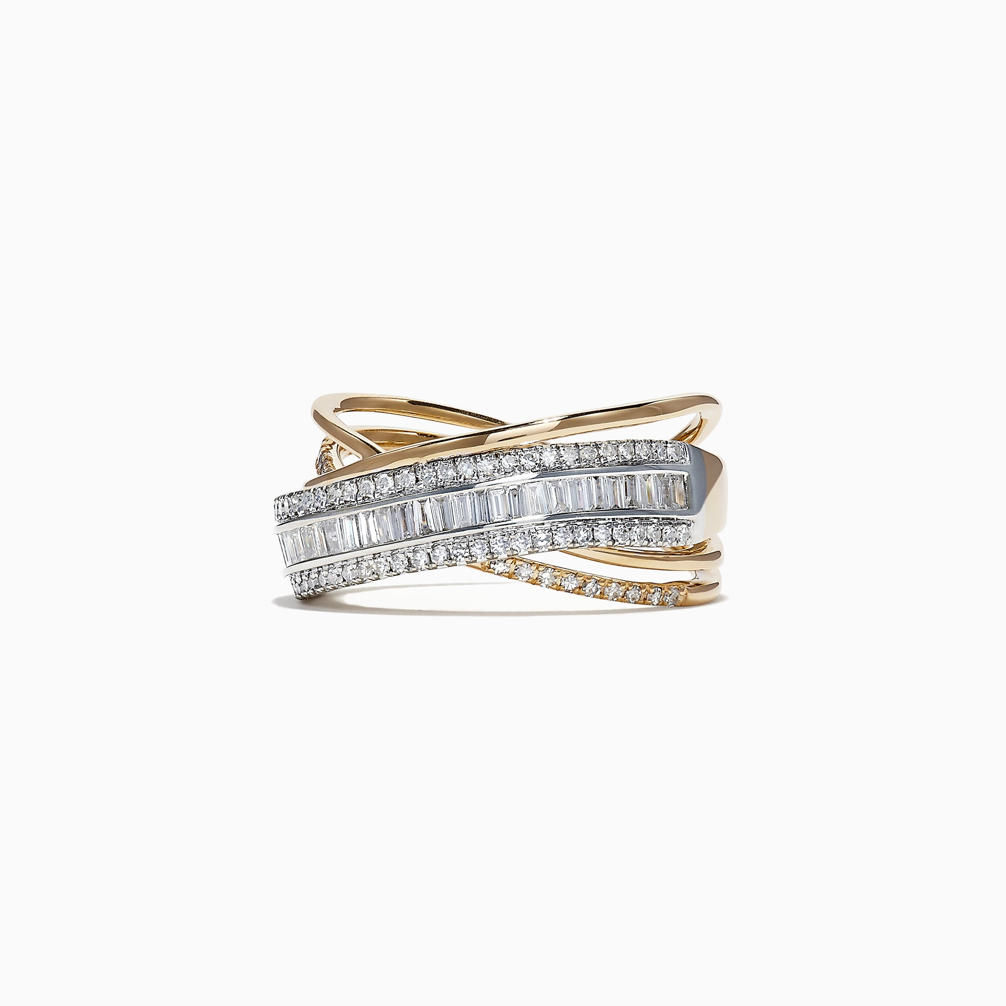 Effy Duo 14K 2 Tone Gold Diamond Crossover Ring, 0.77 TCW