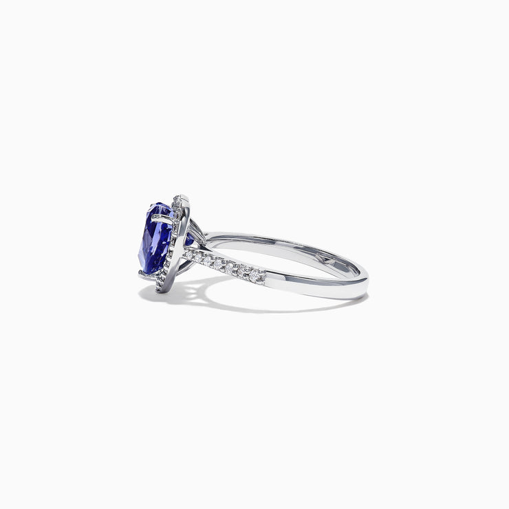 Effy Tanzanite Royale 14K White Gold Tanzanite Diamond Heart Ring, 2.38 TCW