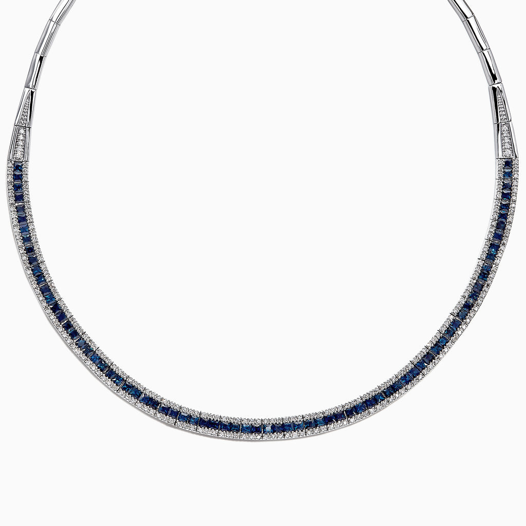 Effy Royale Bleu 14K White Gold Sapphire and Diamond Necklace, 11.21 TCW