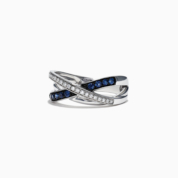 Effy Royale Bleu 14K White Gold Blue Sapphire and Diamond Ring, 0.39 TCW