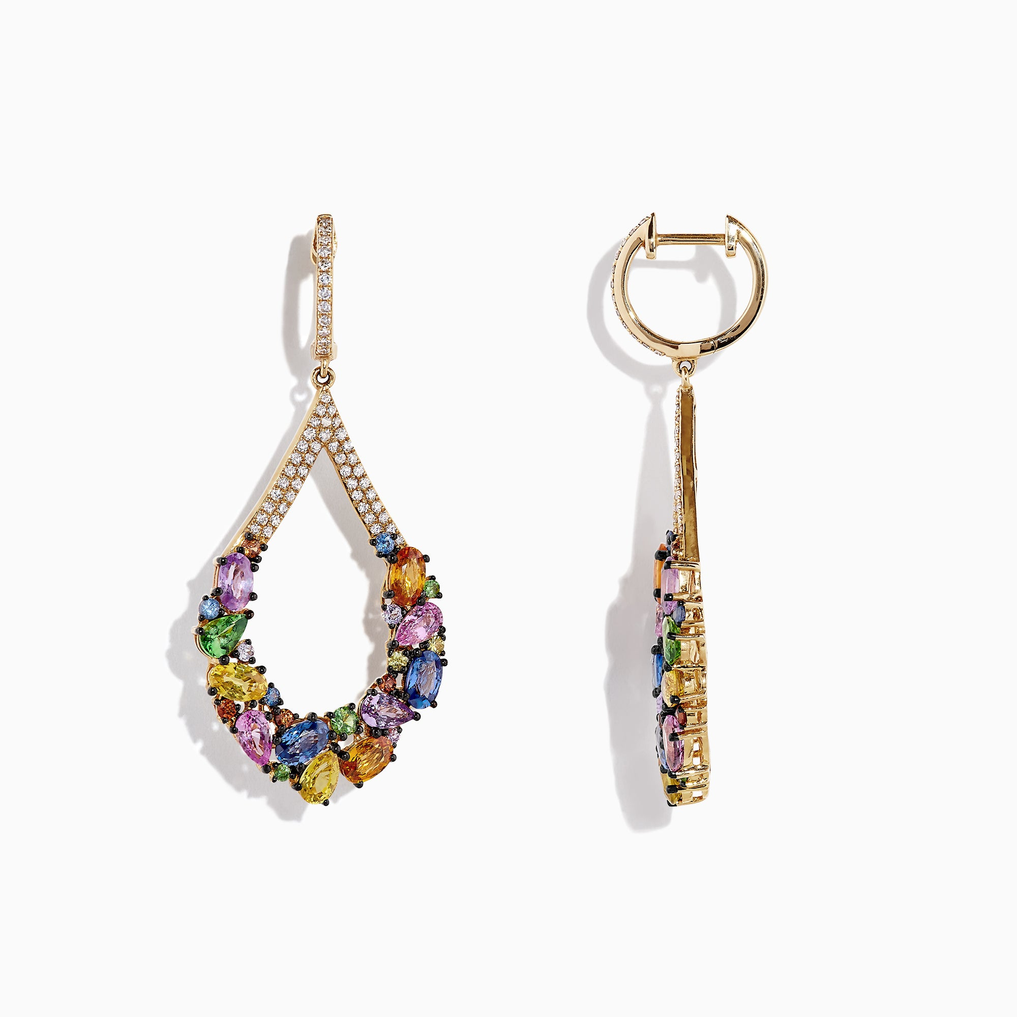 Effy Watercolors 14K Yellow Gold Sapphire and Diamond Earrings, 7.56 CW