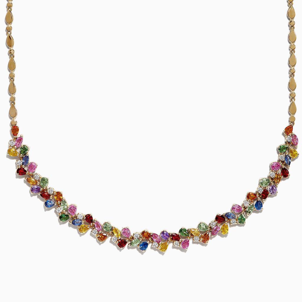 Effy Watercolors 14K Gold Multi Sapphire & Diamond Necklace, 12.94 TCW