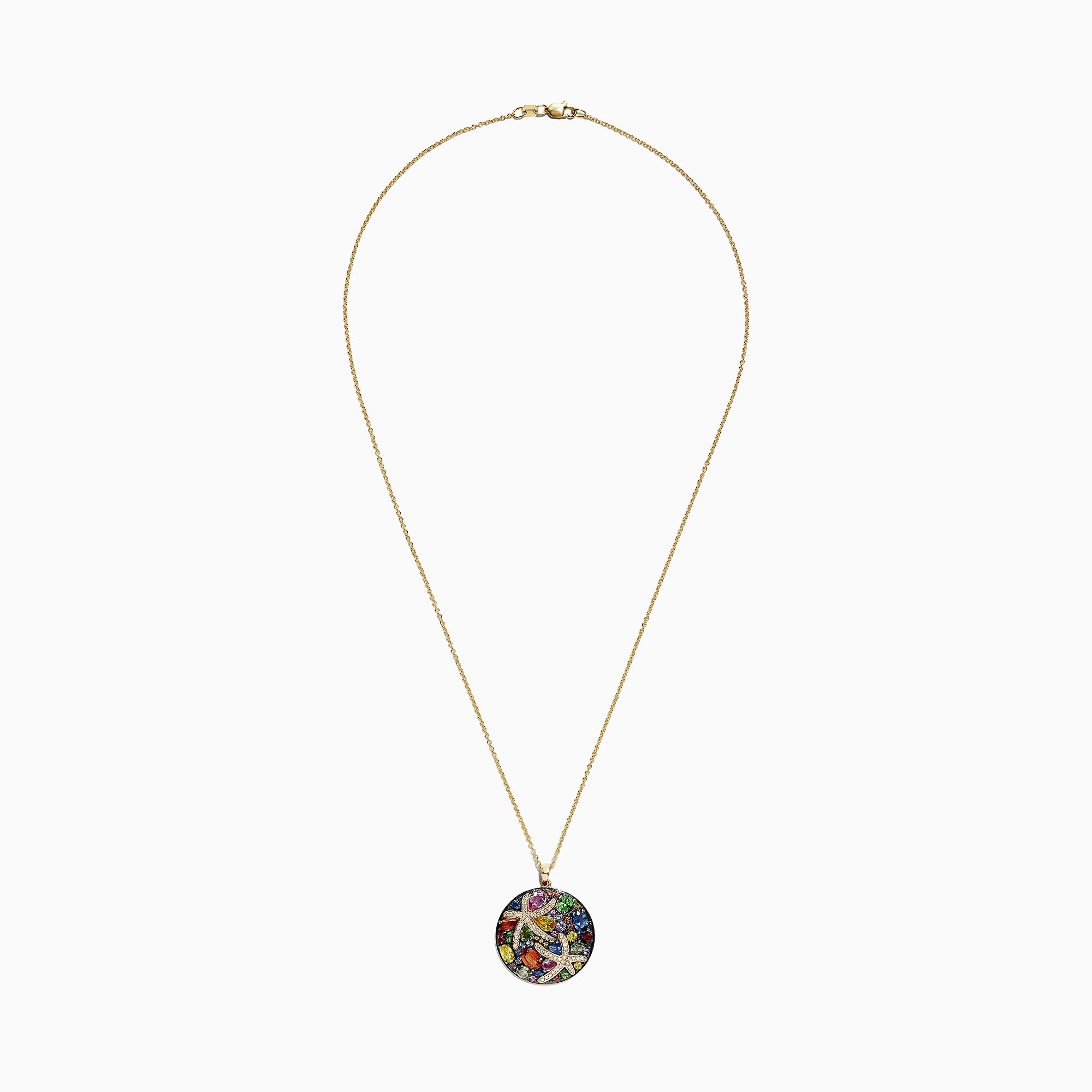Effy Watercolors 14K Yellow Gold Multi Sapphire & Diamond Pendant, 5.71 TCW