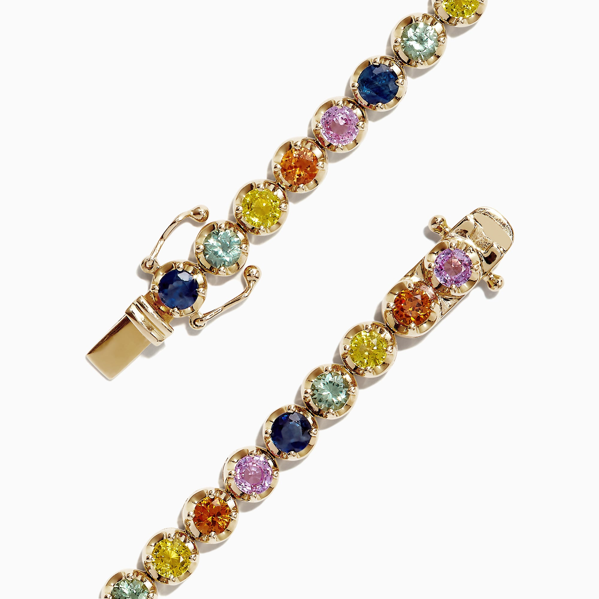 Effy Watercolors 14K Yellow Gold Multi-Sapphire Tennis Bracelet, 8.05 TCW