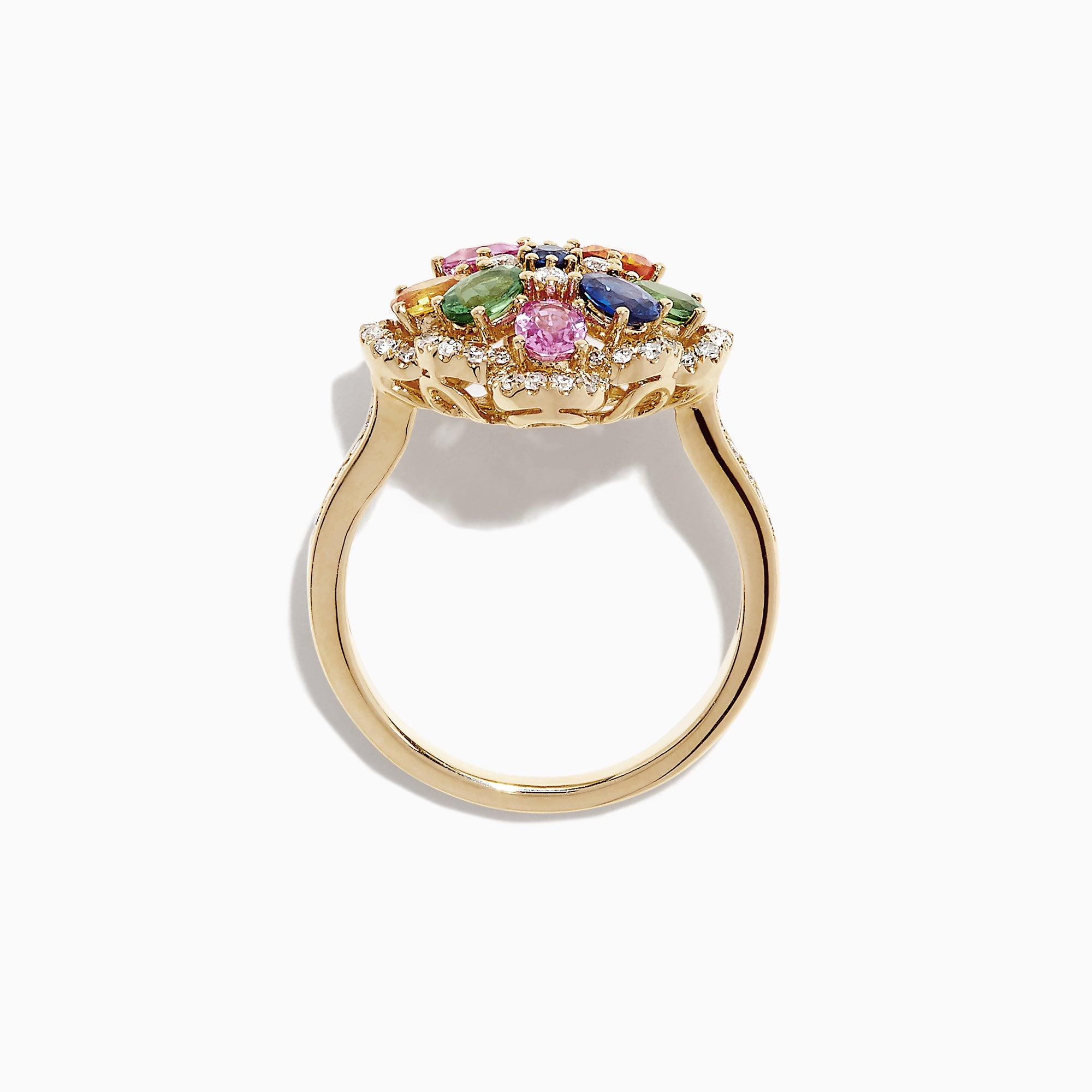 Effy Watercolors 14K Gold Multi Sapphire and Diamond Ring, 1.91 TCW