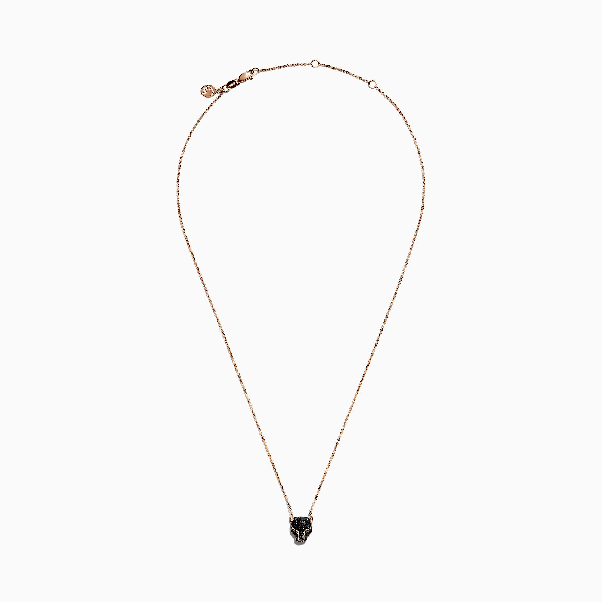 Effy Signature 14K Rose Gold Black Diamond & Emerald Necklace, 0.61 TCW