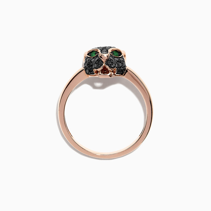 Effy Signature 14K Rose Gold Black Diamond & Tsavorite Mini Ring, 0.46 TCW