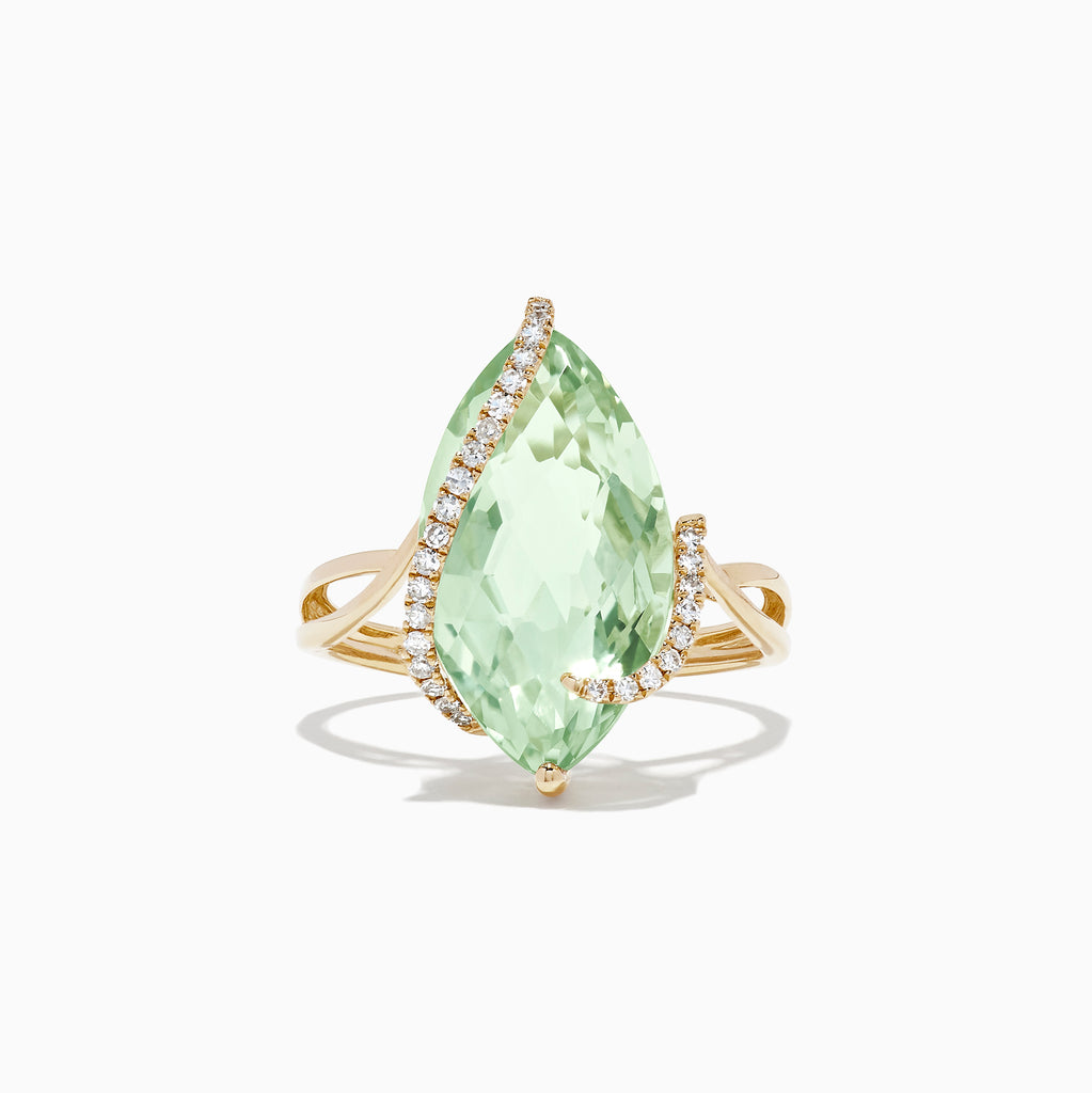 Effy Gemma 14K Yellow Gold Green Amethyst and Diamond Ring, 6.74 TCW