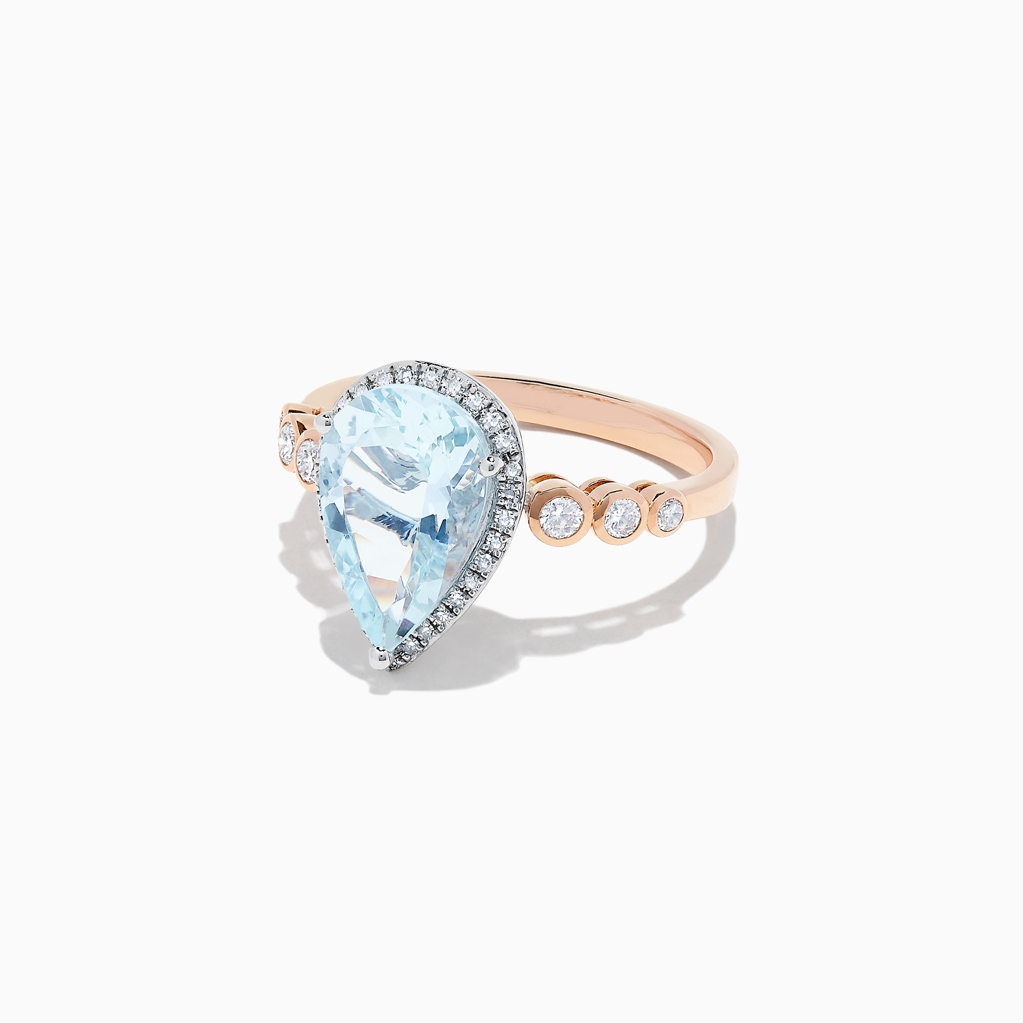 Effy Aquarius 14K Rose & White Gold Aquamarine and Diamond Ring, 2.76 TCW