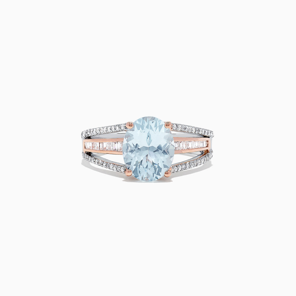 Effy Aquarius 14K Two Tone Gold Aquamarine and Diamond Ring, 2.67 TCW