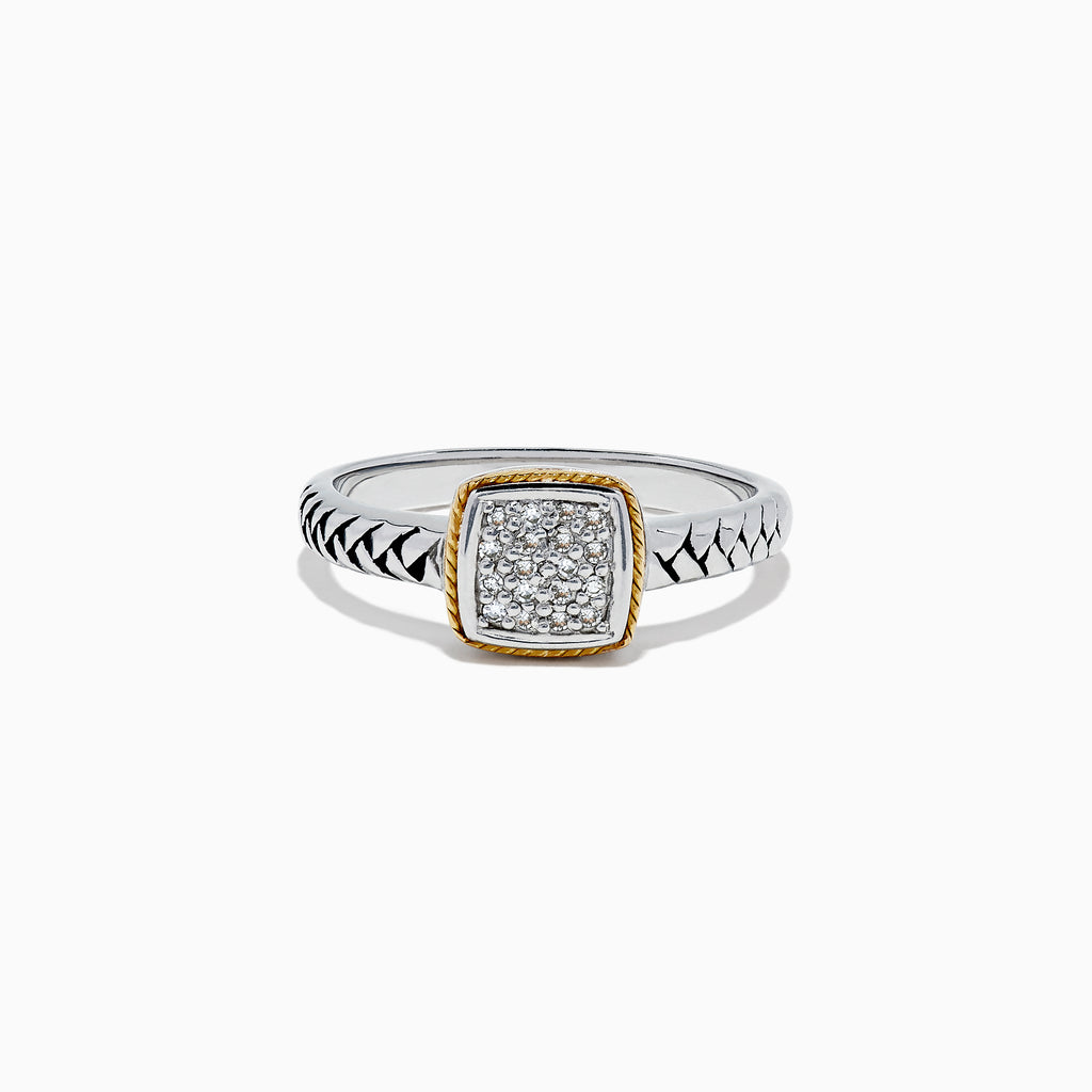 Effy 925 Sterling Silver & 18K Yellow Gold Accented Diamond Ring, 0.07
