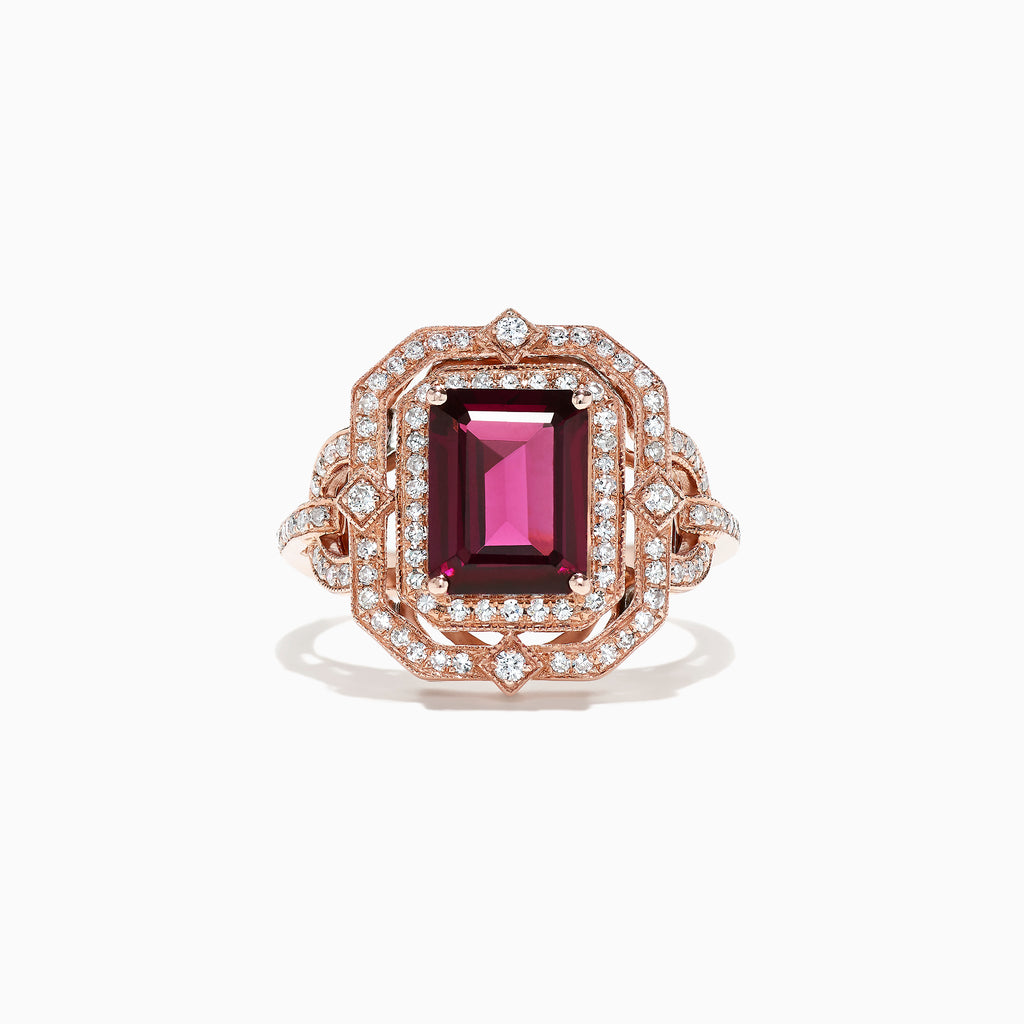 Effy Bordeaux 14K Rose Gold Rhodolite Garnet and Diamond Ring, 2.89 TCW