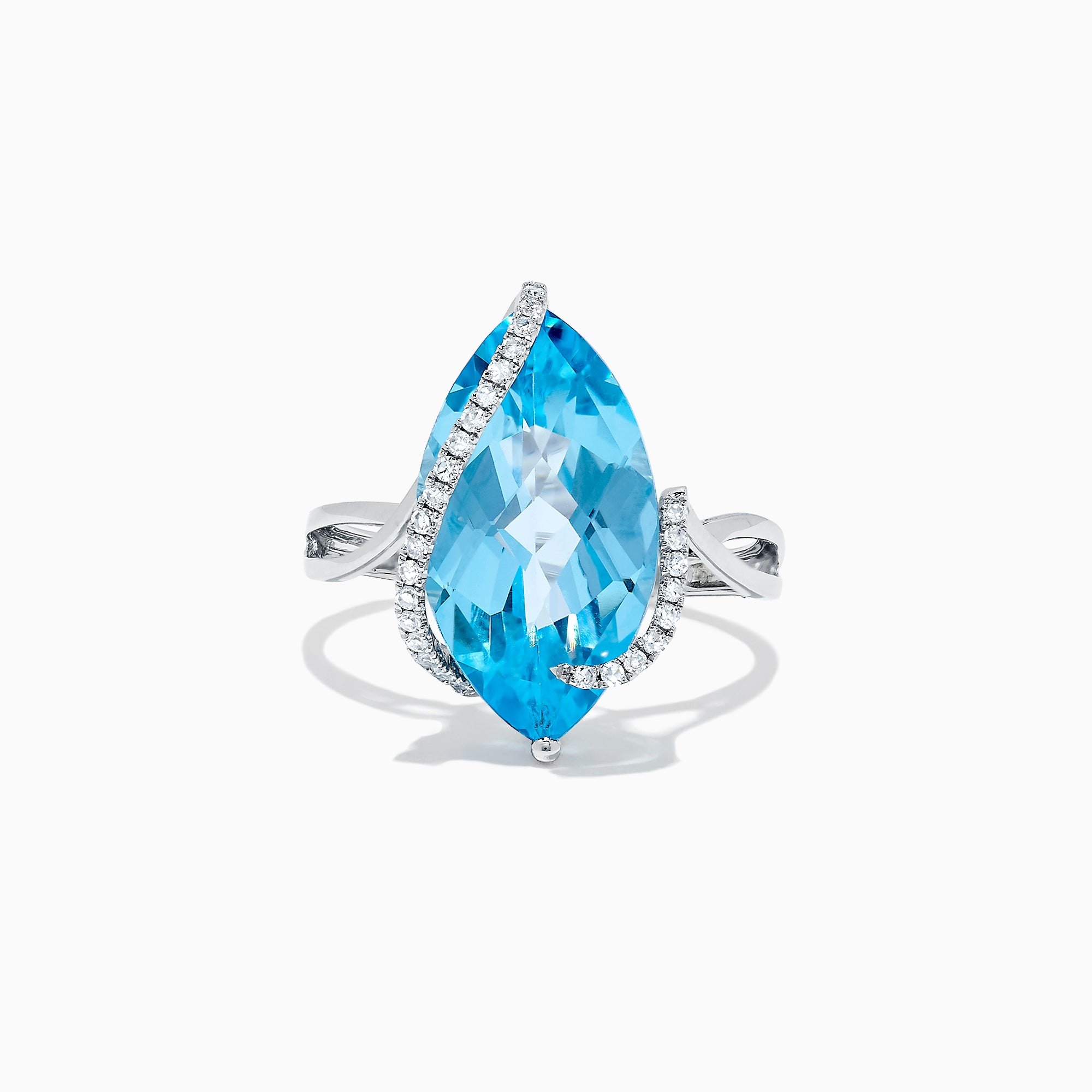 Effy Ocean Bleu 14K White Gold Blue Topaz & Diamond Ring, 7.27 TCW