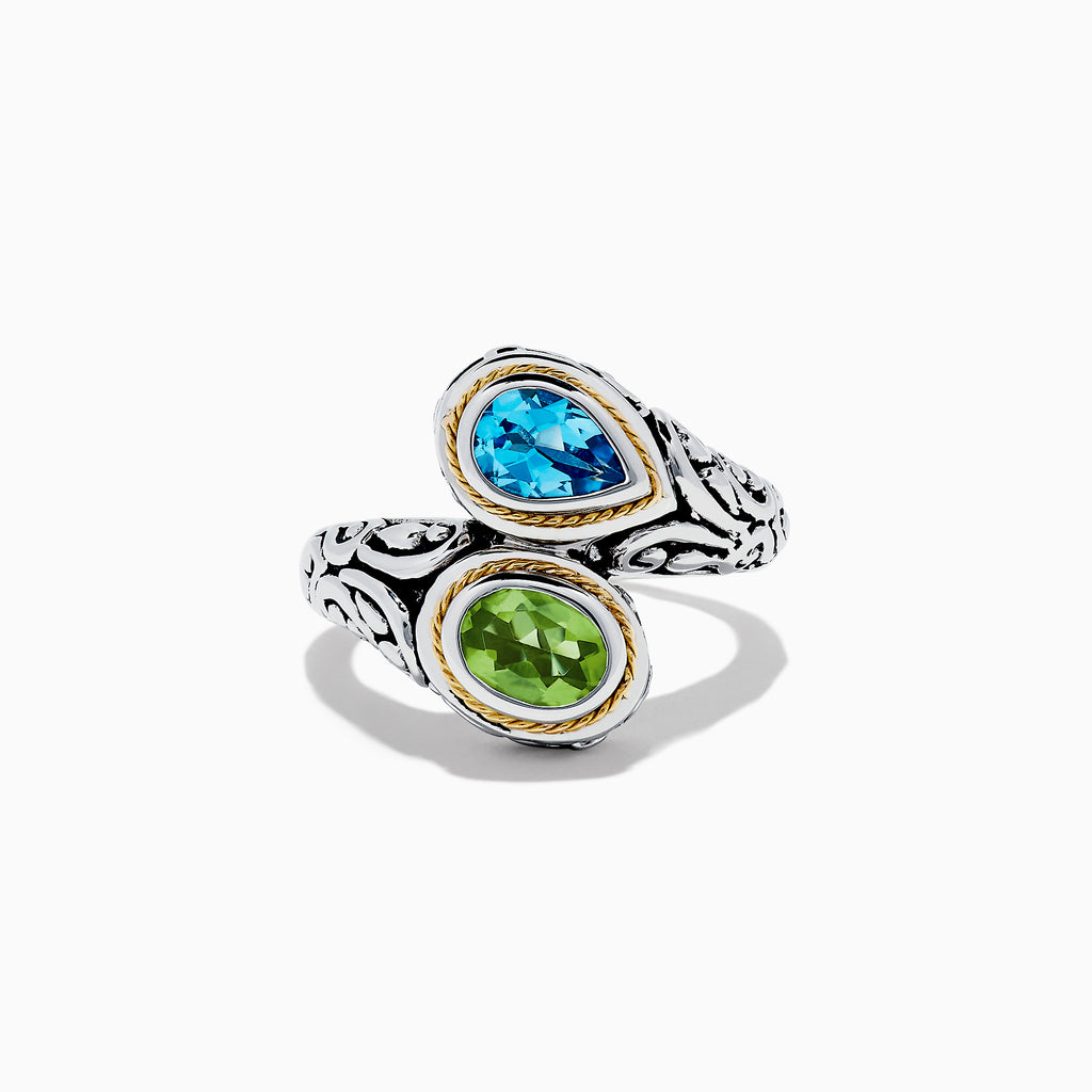 Effy 925 Sterling Silver & 18K Gold Blue Topaz and Peridot Ring, 1.95 TCW