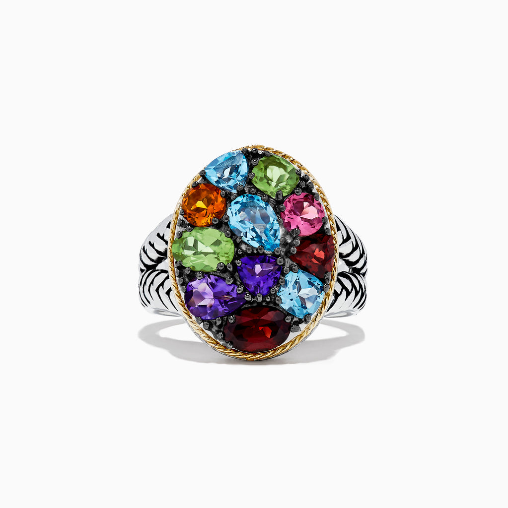 Effy 925 Sterling Silver and 18K Gold Accents Multi Gemstone Ring, 3.62 TCW