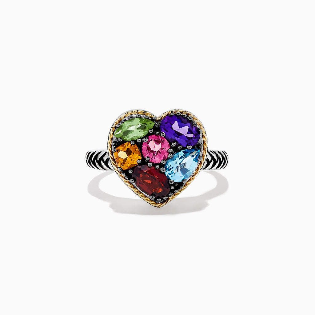 Effy 925 Sterling Silver & 18K Gold Multi Gemstone Heart Ring, 2.19 TCW
