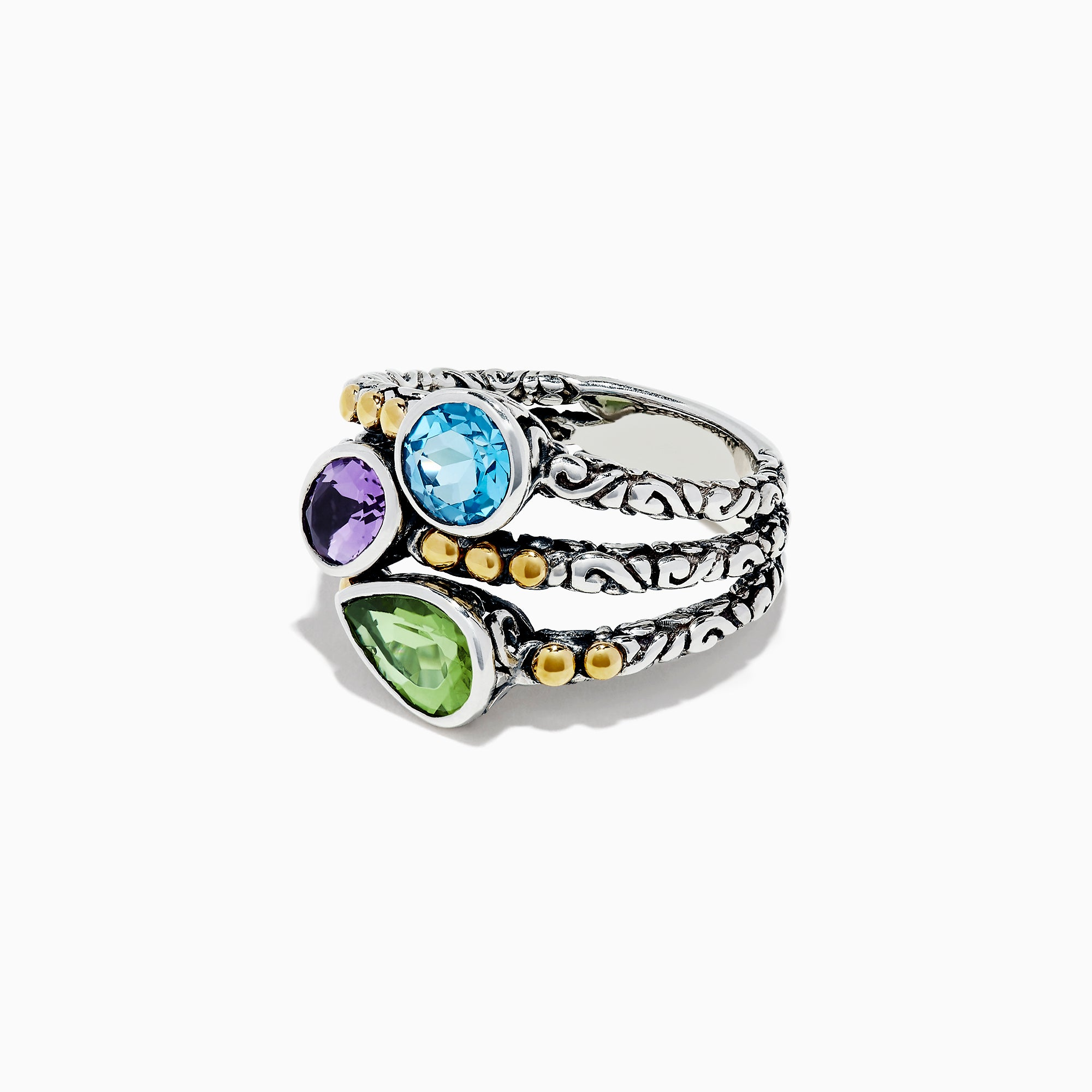 Effy 925 Sterling Silver Amethyst, Blue Topaz and Peridot Ring, 2.61 TCW