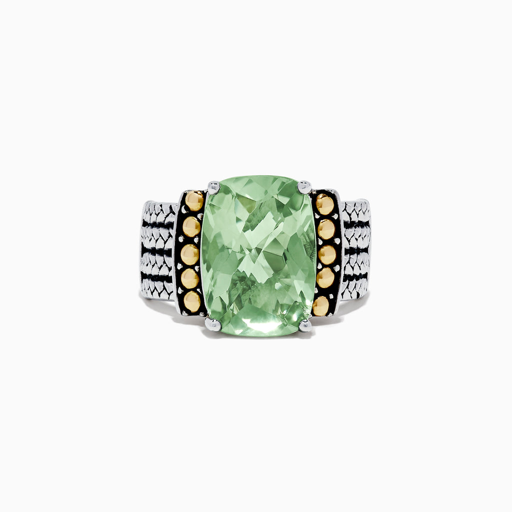 Effy 925 Sterling Silver & 18K Yellow Gold Green Amethyst Ring, 5.75 TCW