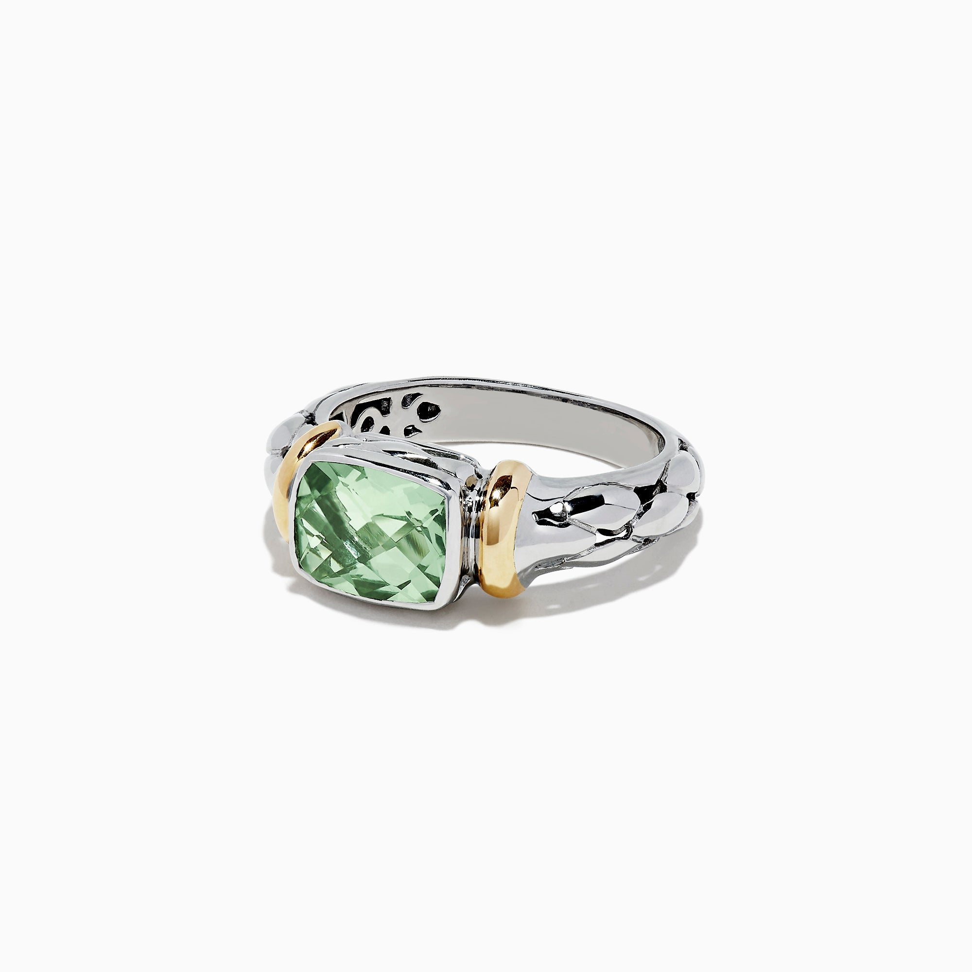 Effy 925 Sterling Silver and 18K Gold Green Amethyst Ring, 1.75 TCW