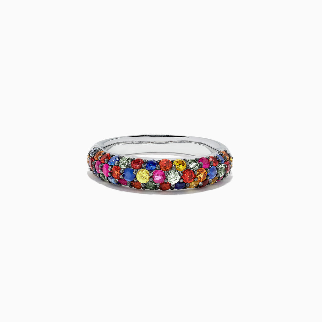 Effy 925 Sterling Silver Multi Sapphire Splash Ring, 1.84 TCW