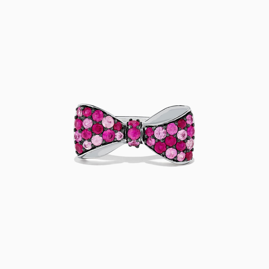Effy 925 Sterling Silver Ruby and Pink Sapphire Splash Bowtie Ring, 1.80 TCW