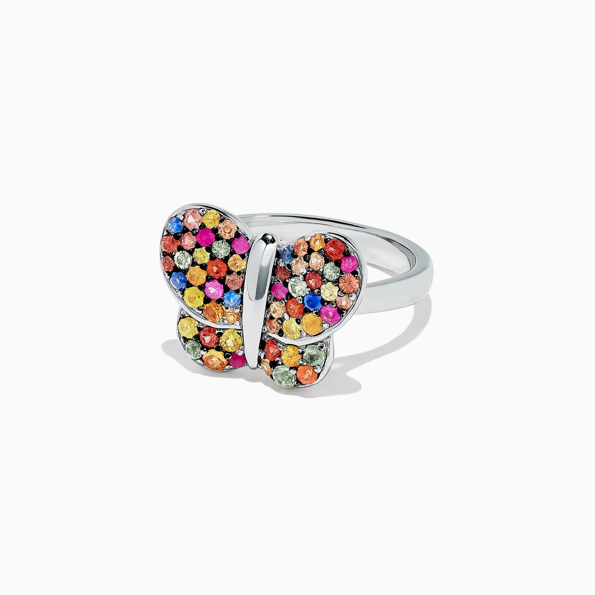 Effy 925 Sterling Silver Multi Sapphire Splash Butterfly Ring, 1.29 TCW