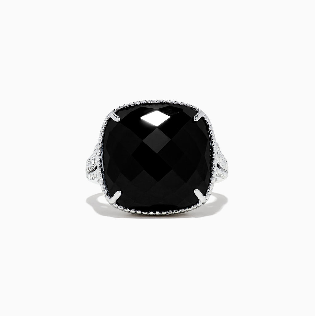Effy 925 Sterling Silver Cushion Onyx Ring, 6.50 TCW