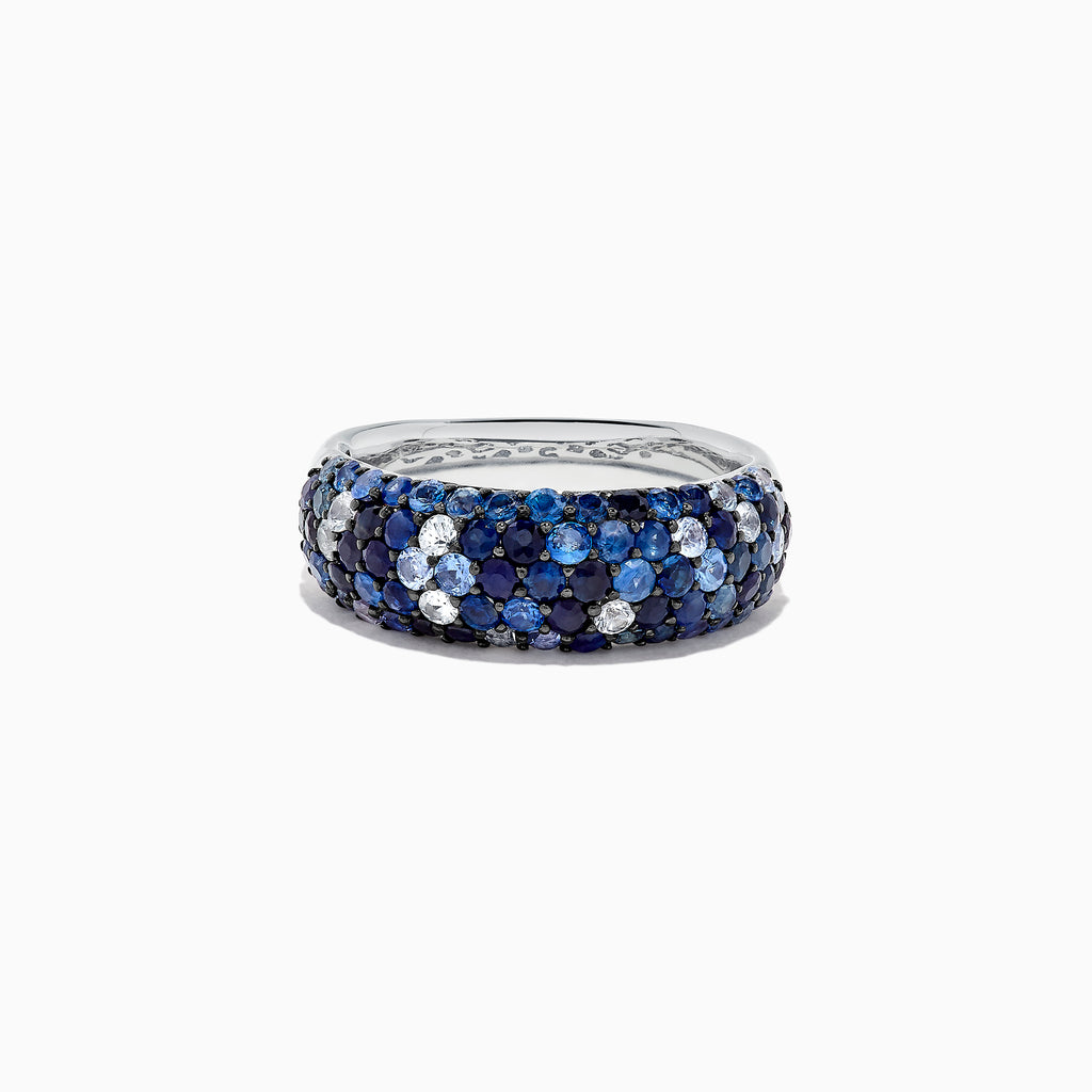 Effy 925 Sterling Silver Blue and White Sapphire Splash Ring, 2.42 TCW