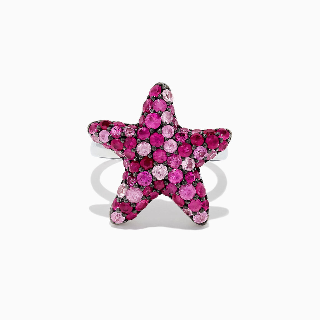 Effy 925 Sterling Silver Pink Sapphire Splash Starfish Ring, 2.82 TCW
