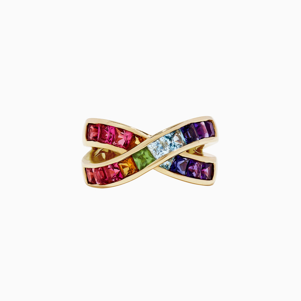 Effy Mosaic 14K Yellow Gold Multi Gemstone Ring, 3.00 TCW
