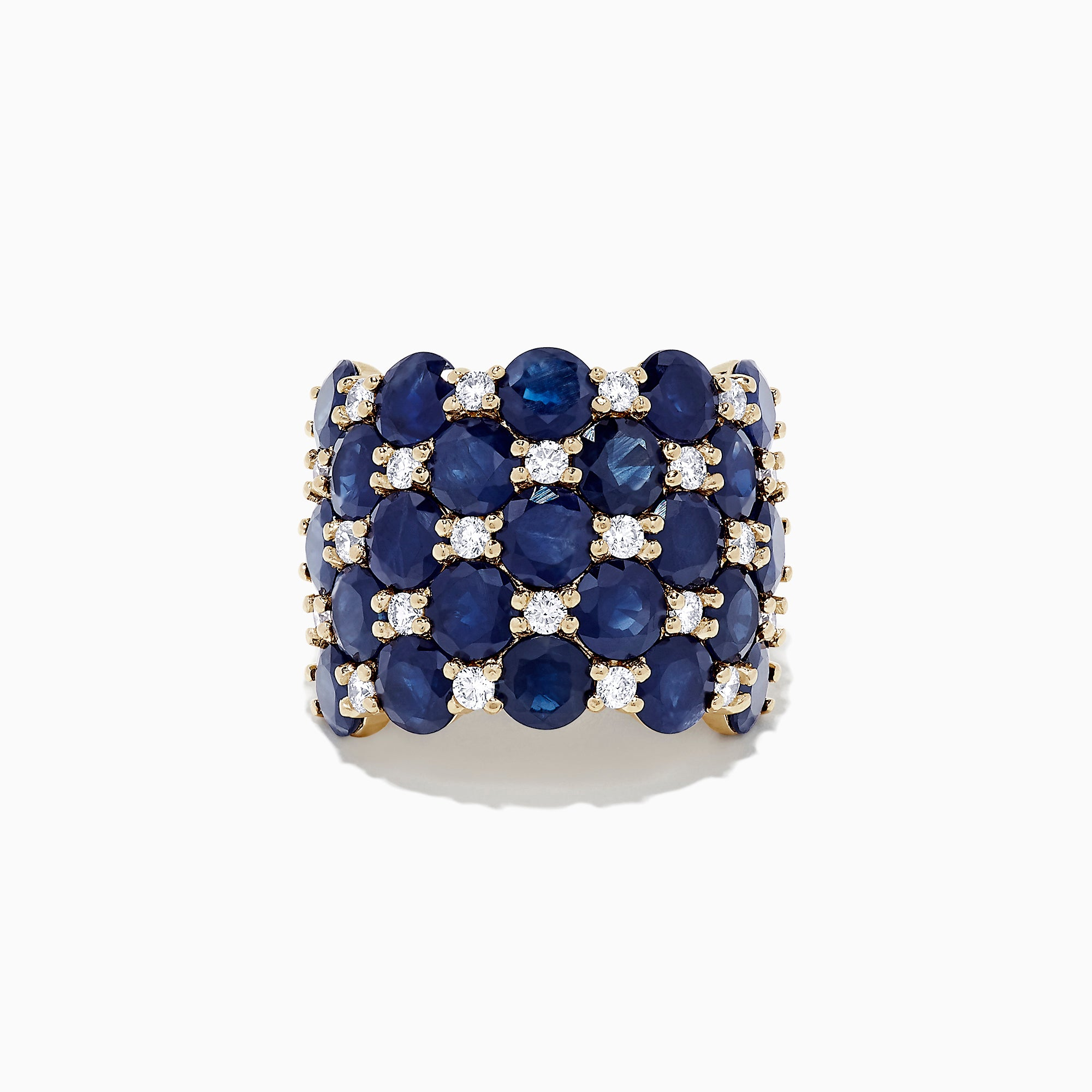 Effy Royale Bleu 14K Yellow Gold Sapphire and Diamond Ring, 13.97 TCW