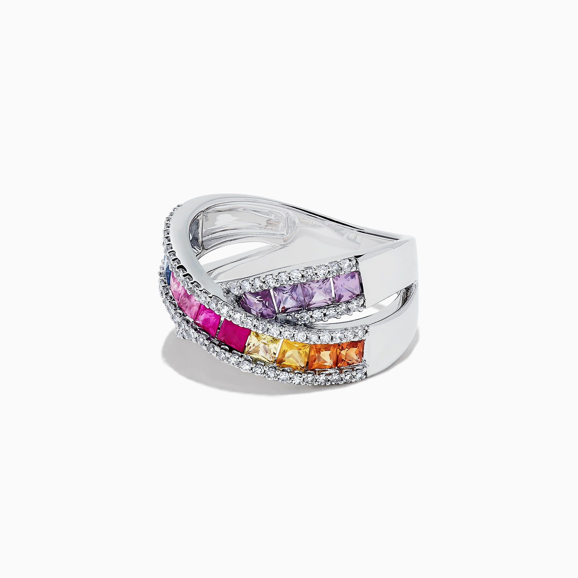 Effy Watercolors 14K White Gold Multi Sapphire and Diamond Ring, 2.63 TCW