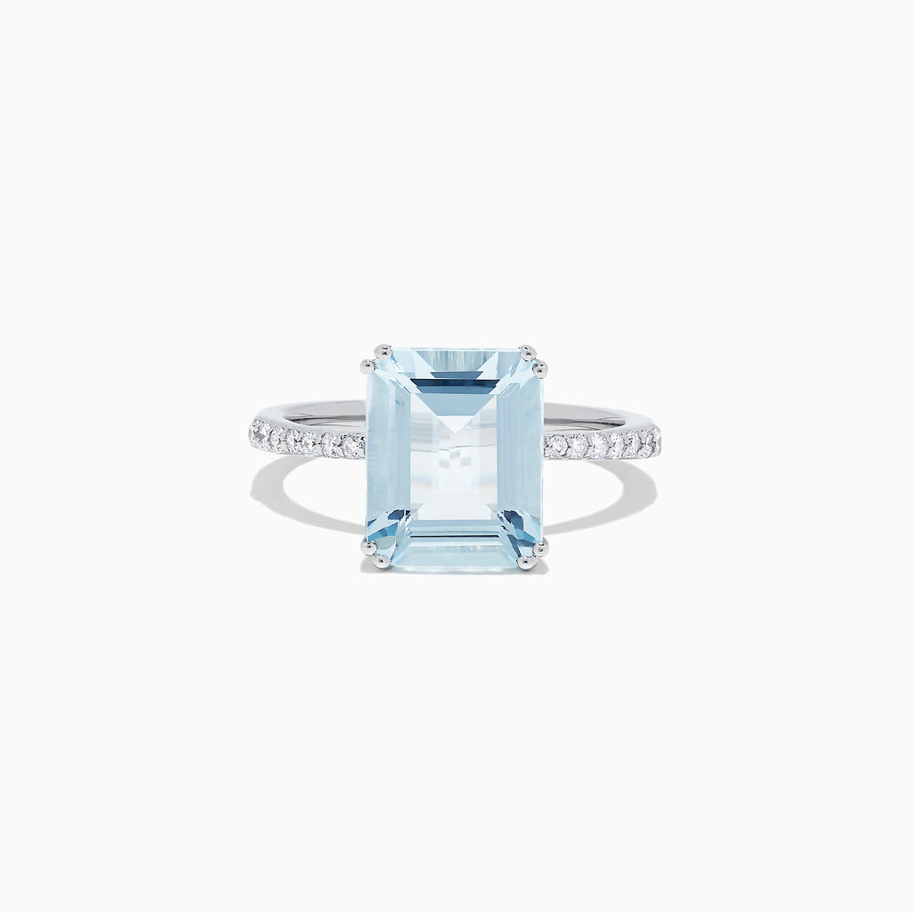Effy Aquarius 14K White Gold Aquamarine and Diamond Ring, 3.96 TCW