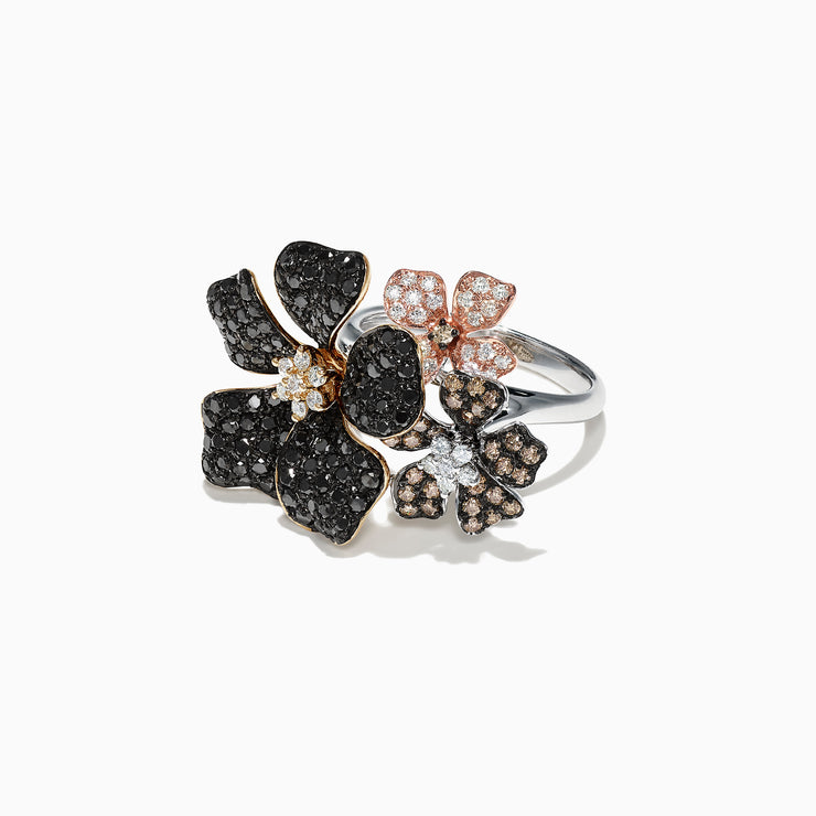 Effy Nature 14K Gold Black, Espresso & White Diamond Flower Ring, 2.04 TCW