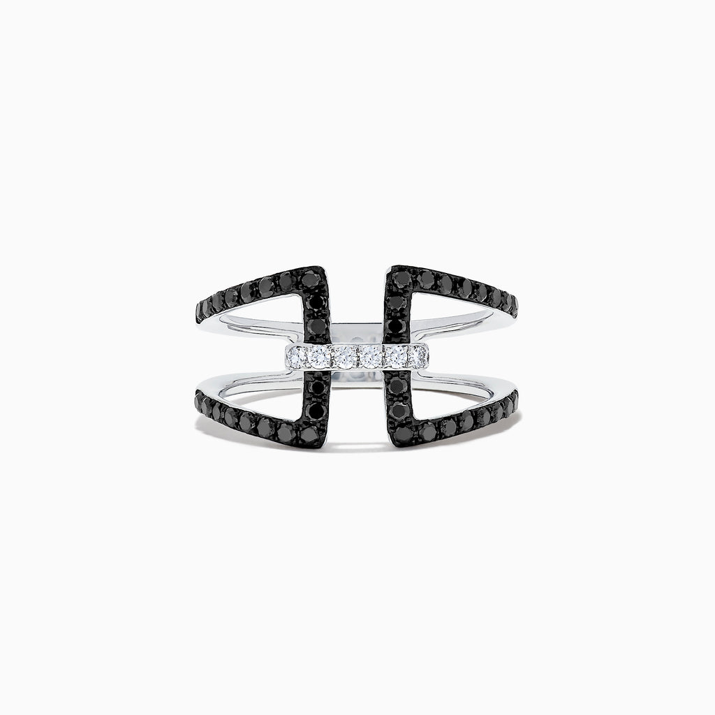 Effy 14K White Gold Black and White Diamond Ring, 0.49 TCW