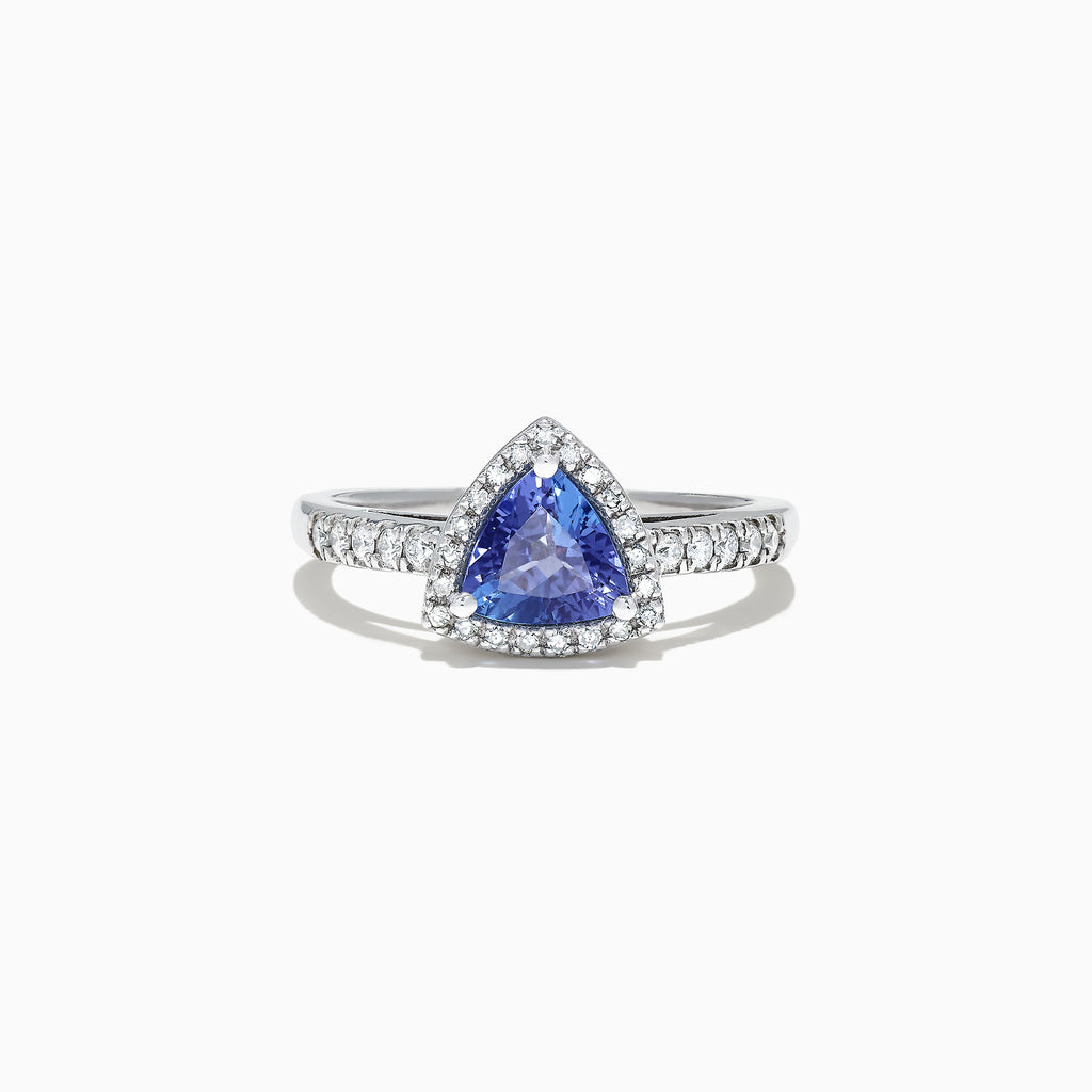 Effy 14K White Gold Trillion Tanzanite and Diamond Ring, 0.96 TCW