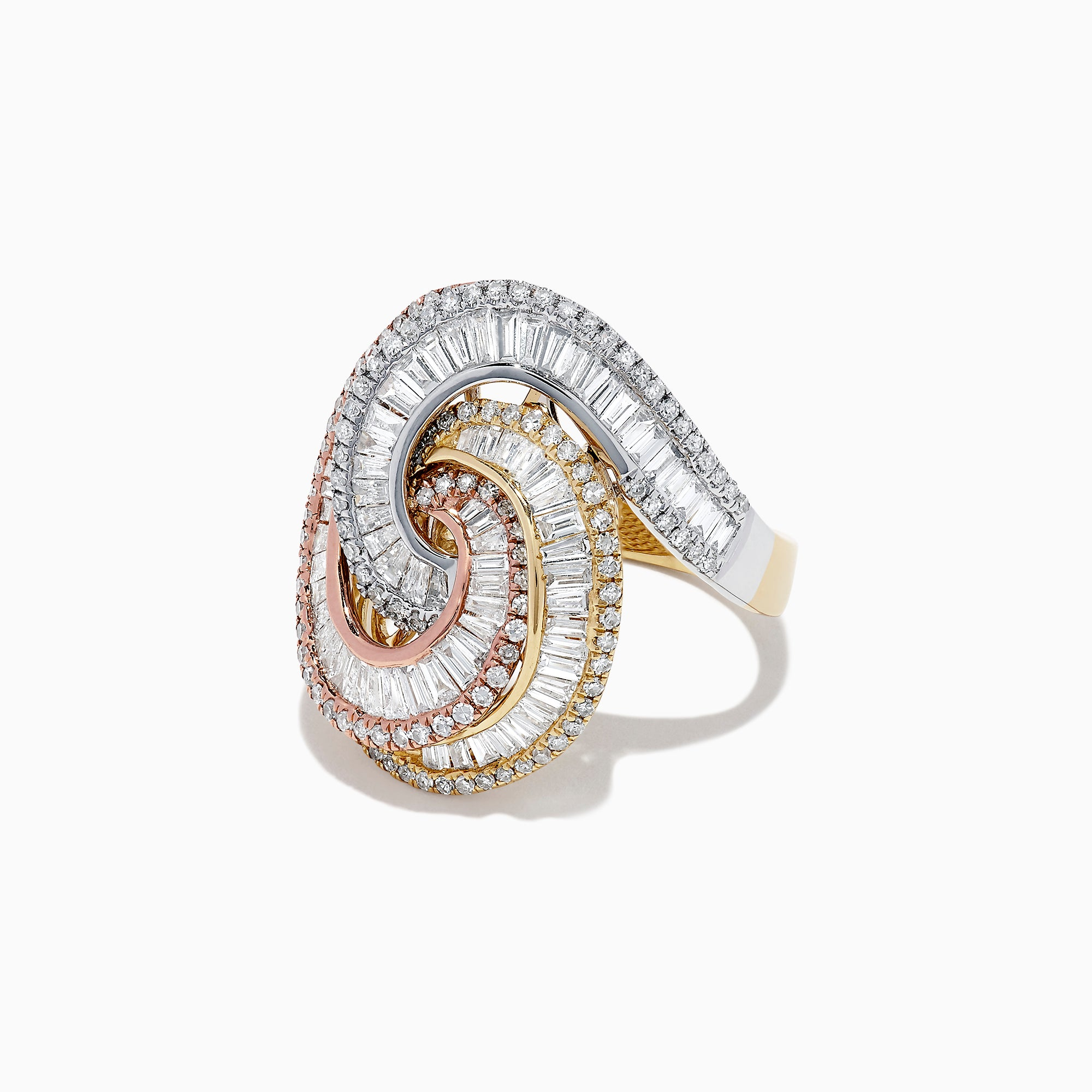 Effy Limited Edition 14K Tri Color Gold Diamond Swirl Ring, 1.66 TCW