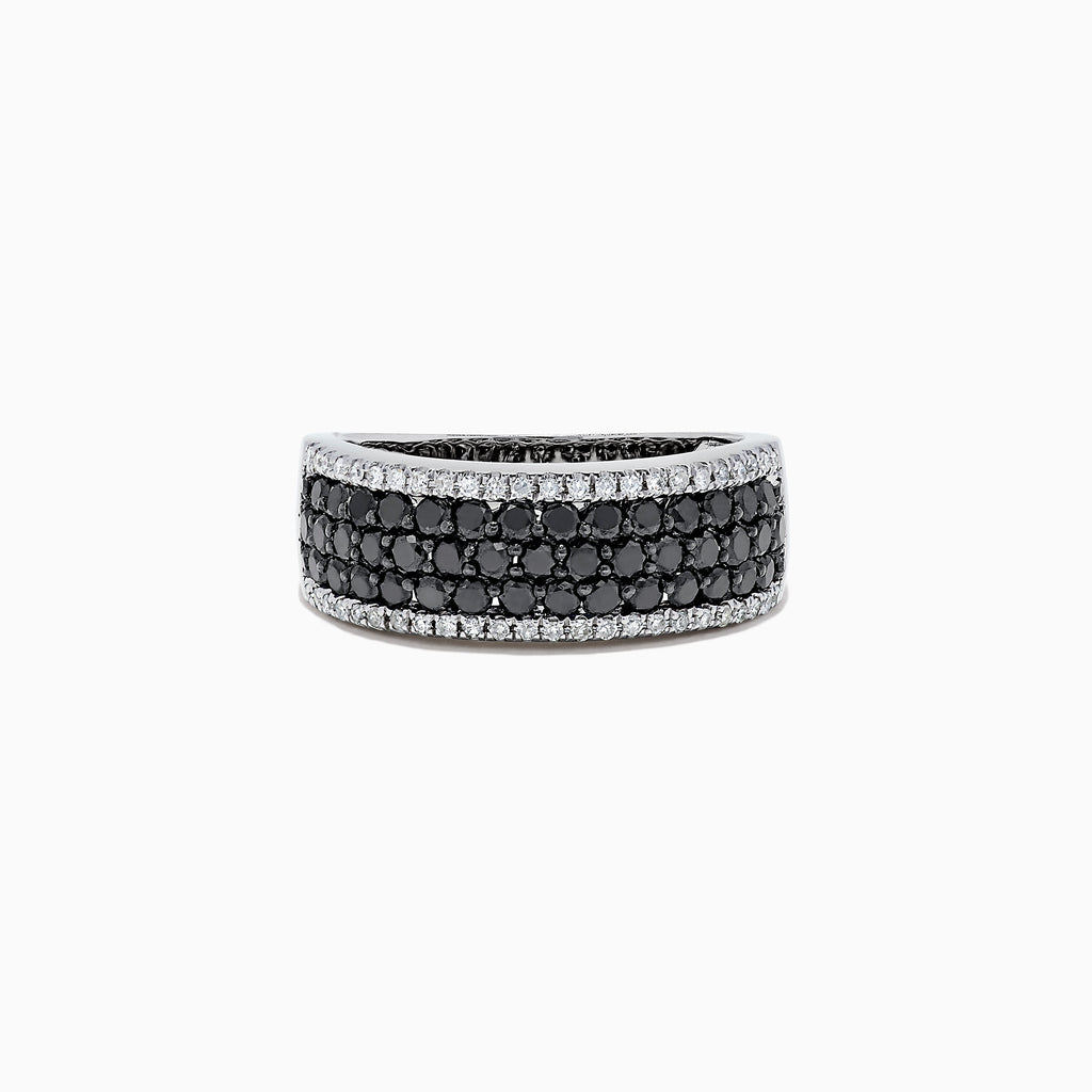 Effy 14K White Gold Black and White Diamond Ring, 1.28 TCW